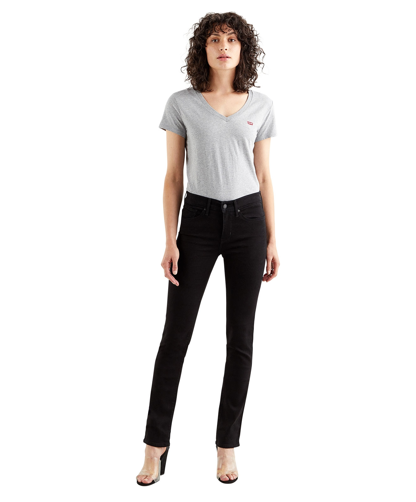 Hosen - Levis High Waisted Jeans 312 Shaping Slim in Soft Black  - Onlineshop Jeans Meile