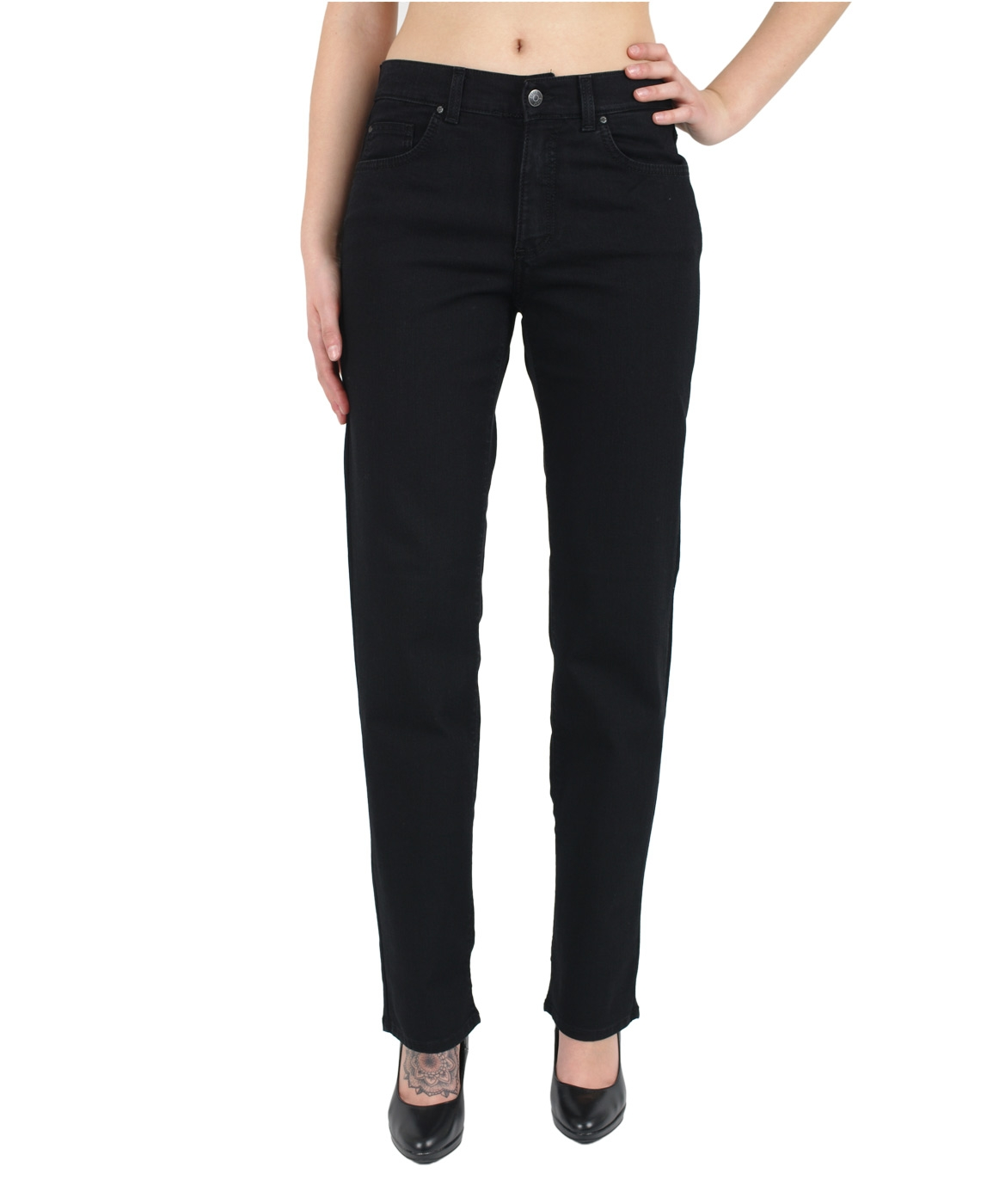 Hosen - Angels Straight Leg Jeans Dolly in JetBlack  - Onlineshop Jeans Meile