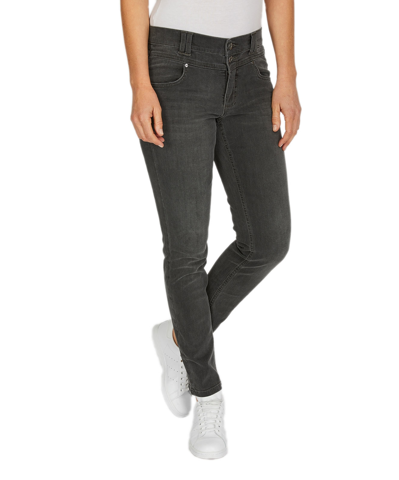 Hosen - Angels Skinny Jeans Skinny Button in Grey Used Crinkle  - Onlineshop Jeans Meile