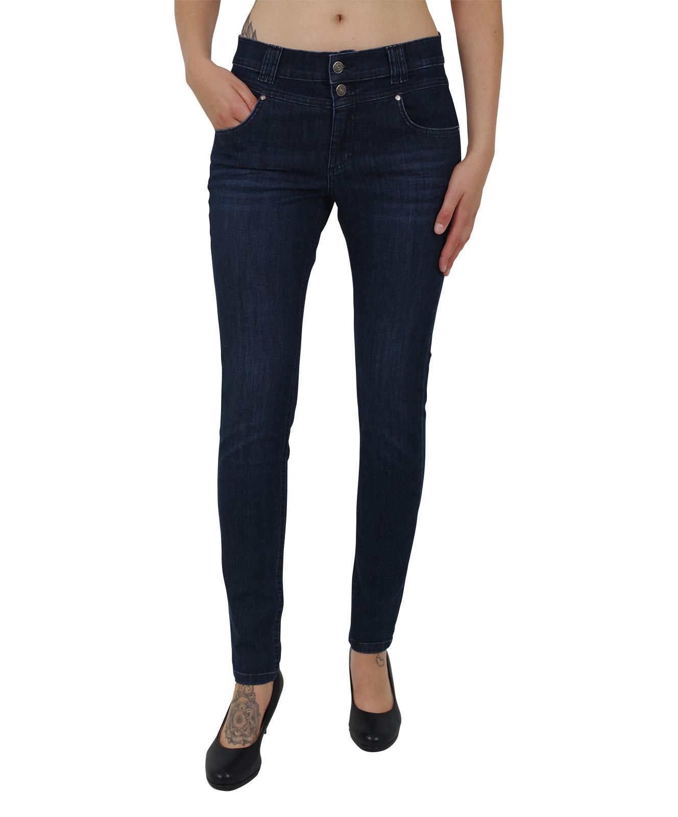 Hosen - Angels Skinny Jeans Skinny Button in Dark Indigo Used Buffi  - Onlineshop Jeans Meile