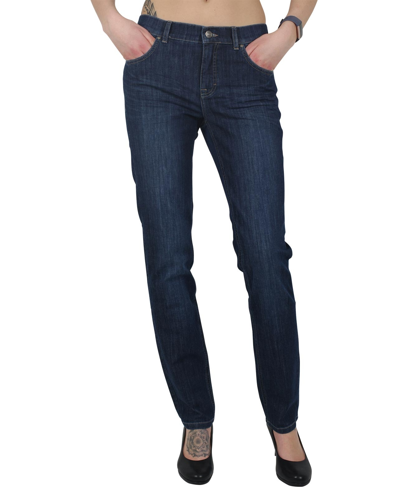 Hosen - Angels Straight Leg Jeans Cici in Mid Blue Used Buffi  - Onlineshop Jeans Meile