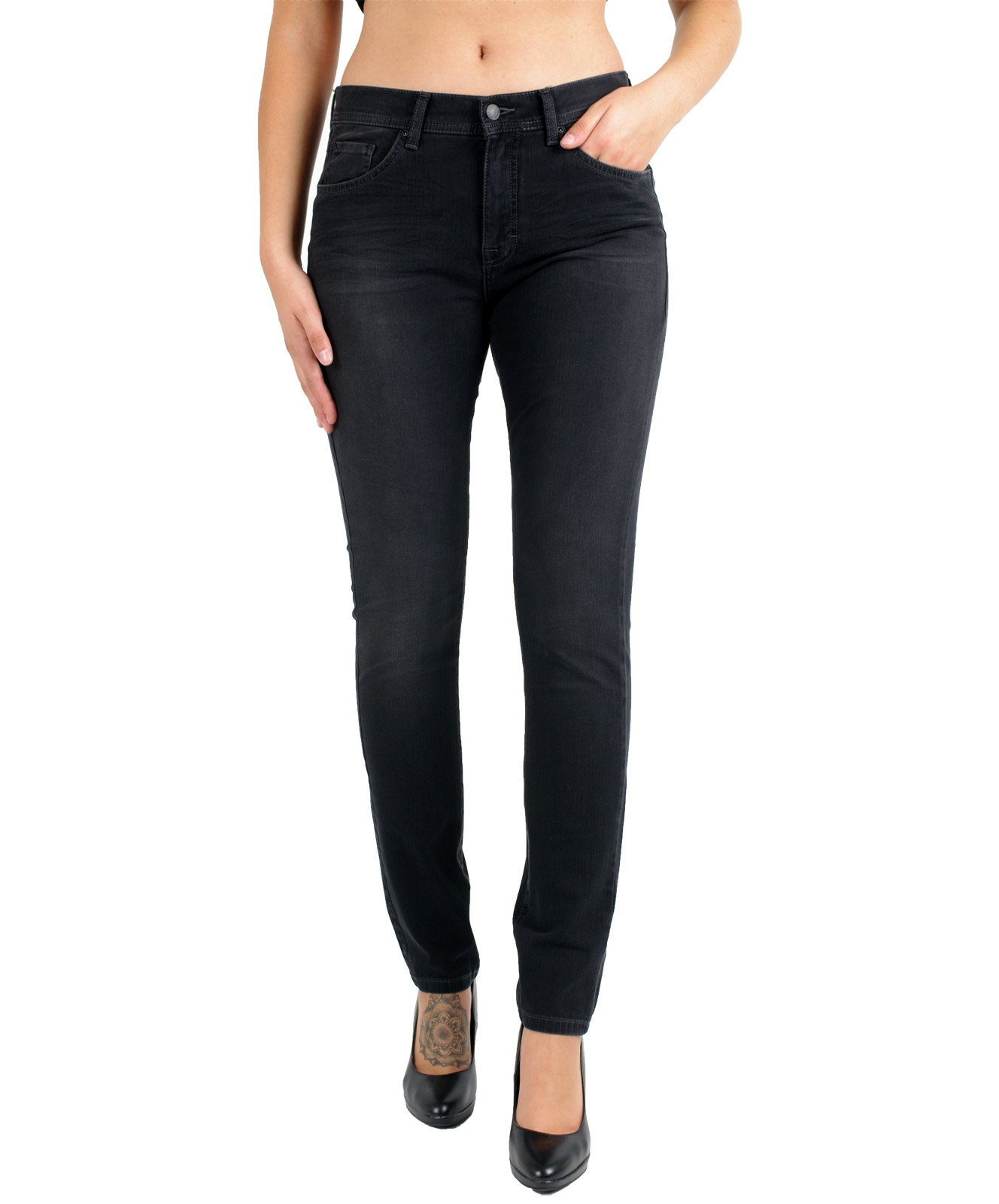 Hosen - Angels Jeans Röhre Skinny in Black  - Onlineshop Jeans Meile
