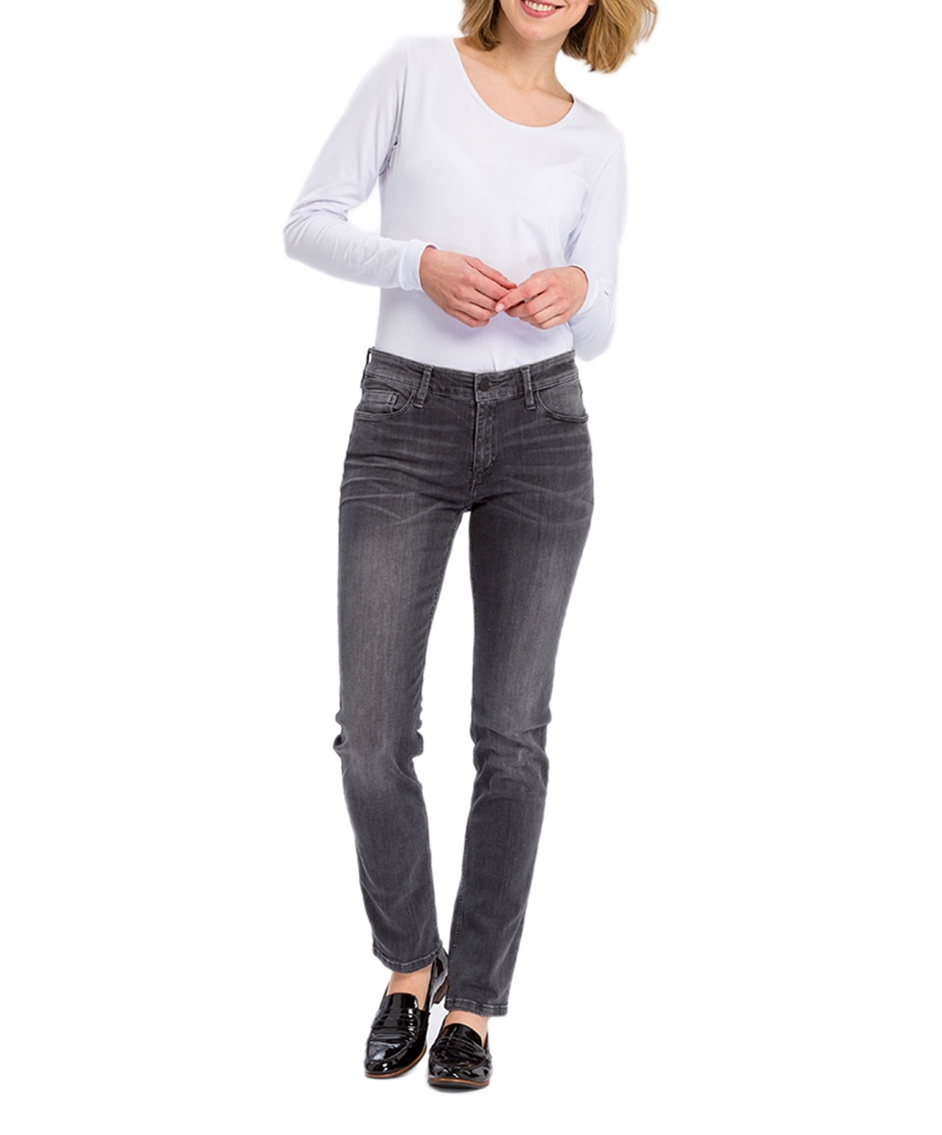 Hosen - Cross High Waisted Jeans Anya in Dark Grey  - Onlineshop Jeans Meile