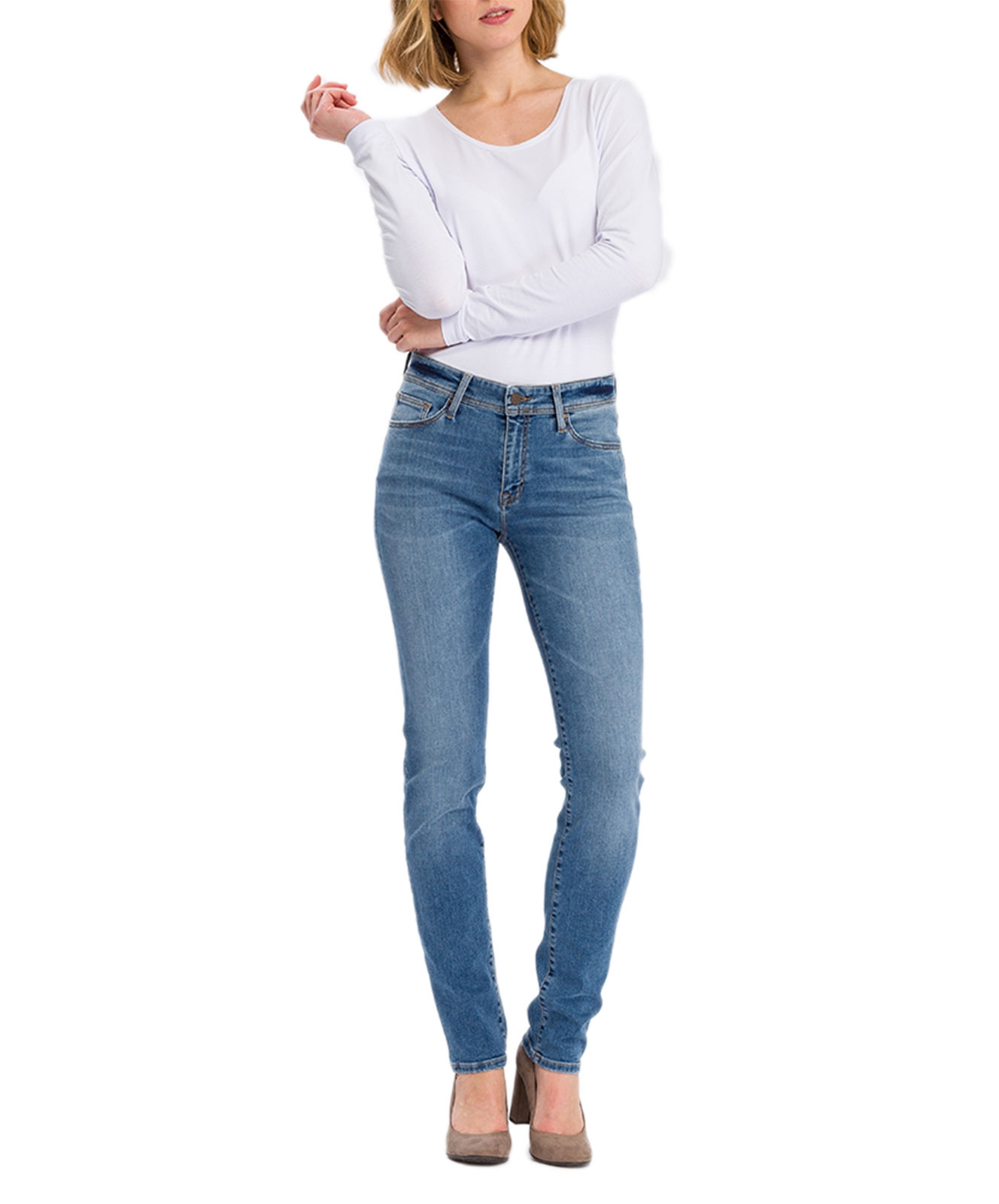 Hosen - Cross Mom Jeans Anya in Light Mid Blue  - Onlineshop Jeans Meile