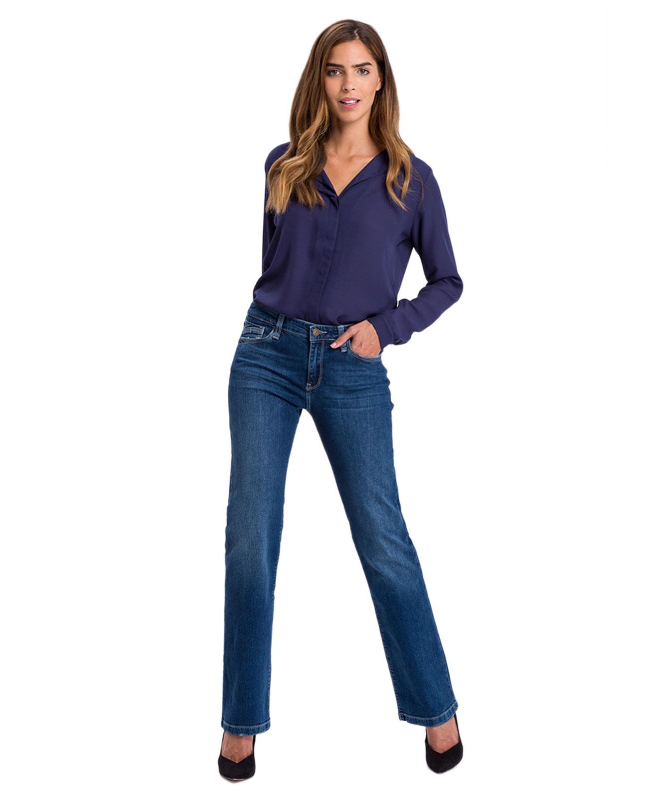 Hosen - Cross Bootcut Jeans Lauren in Darl Blue Used  - Onlineshop Jeans Meile