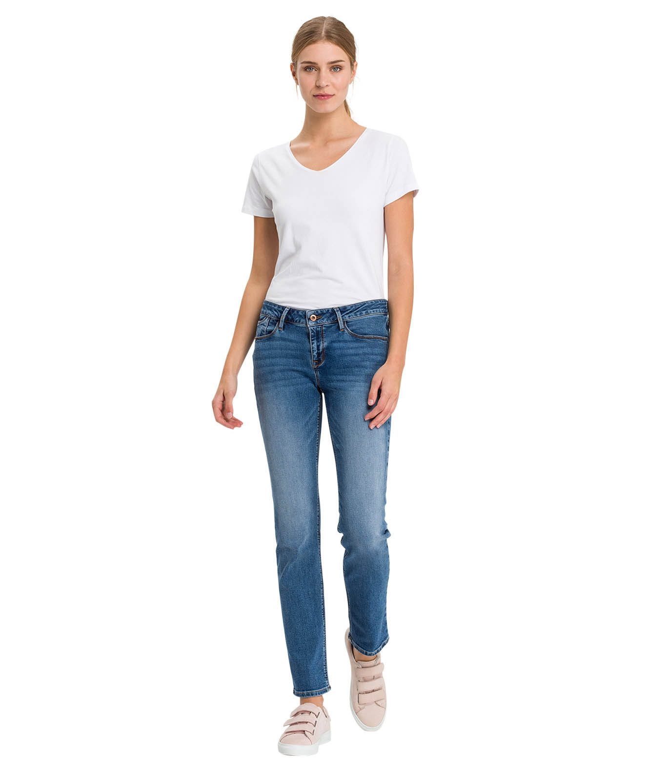 Hosen - Cross Straight Leg Jeans Rose in Mid Blue Used  - Onlineshop Jeans Meile