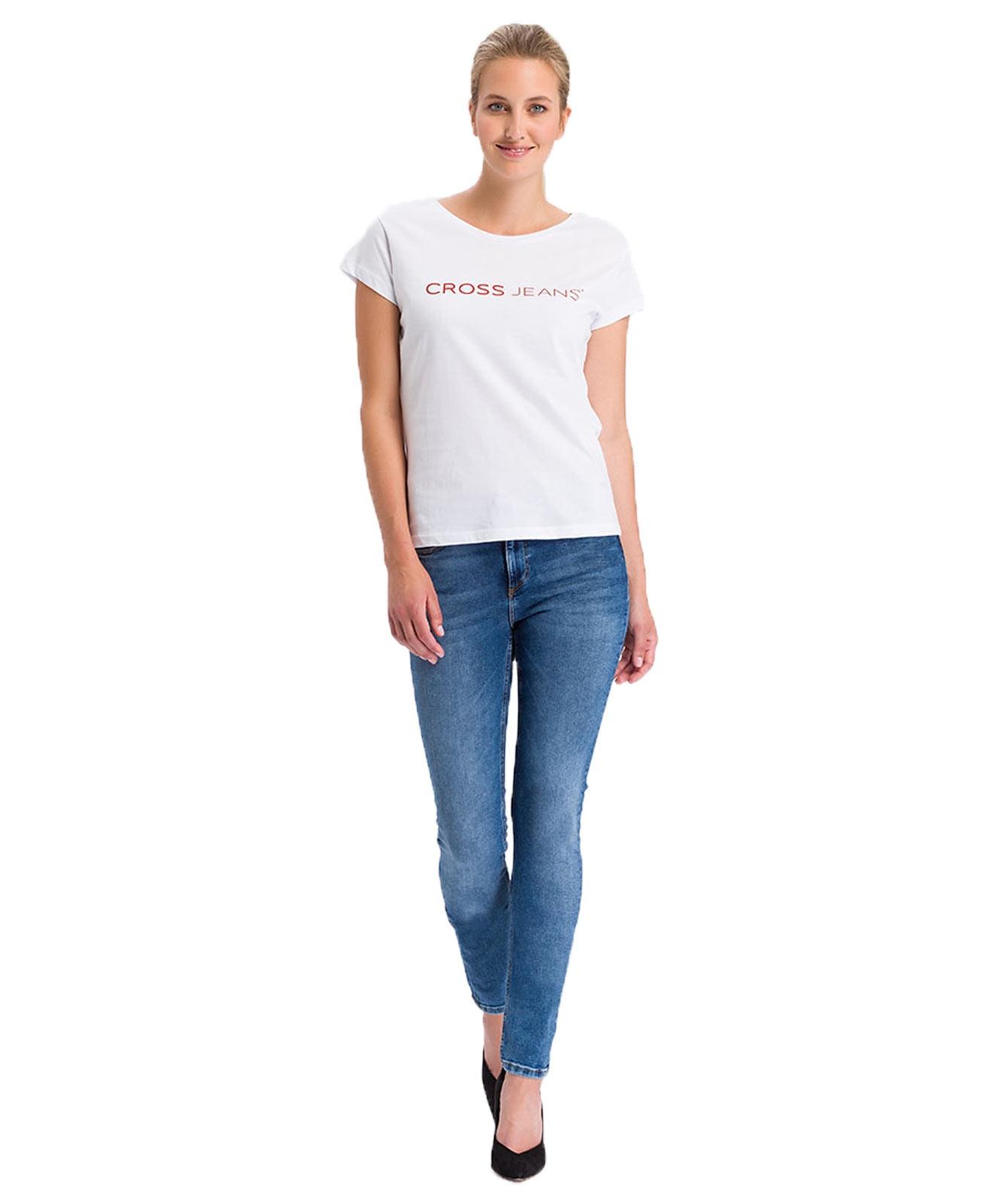 Hosen für Frauen - Cross Jeans Natalia mittelblaue High Waist Jeans  - Onlineshop Jeans Meile