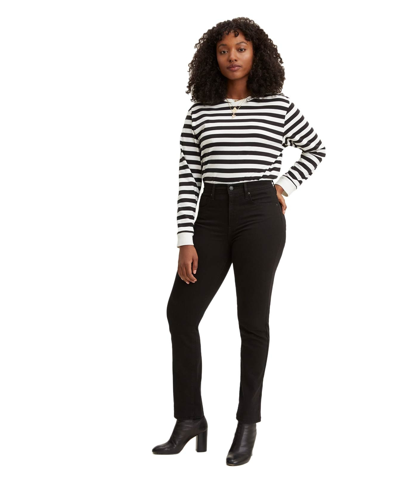 Hosen - Levis High Waisted Jeans 724 in Black Sheep  - Onlineshop Jeans Meile