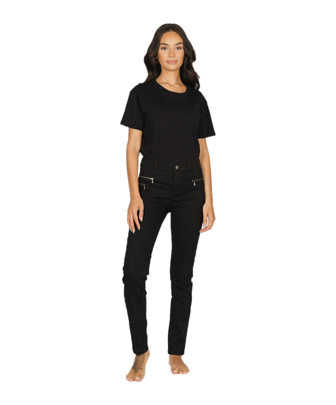 Hosen - Angels Slim Fit Jeans Malu Zip in Black  - Onlineshop Jeans Meile