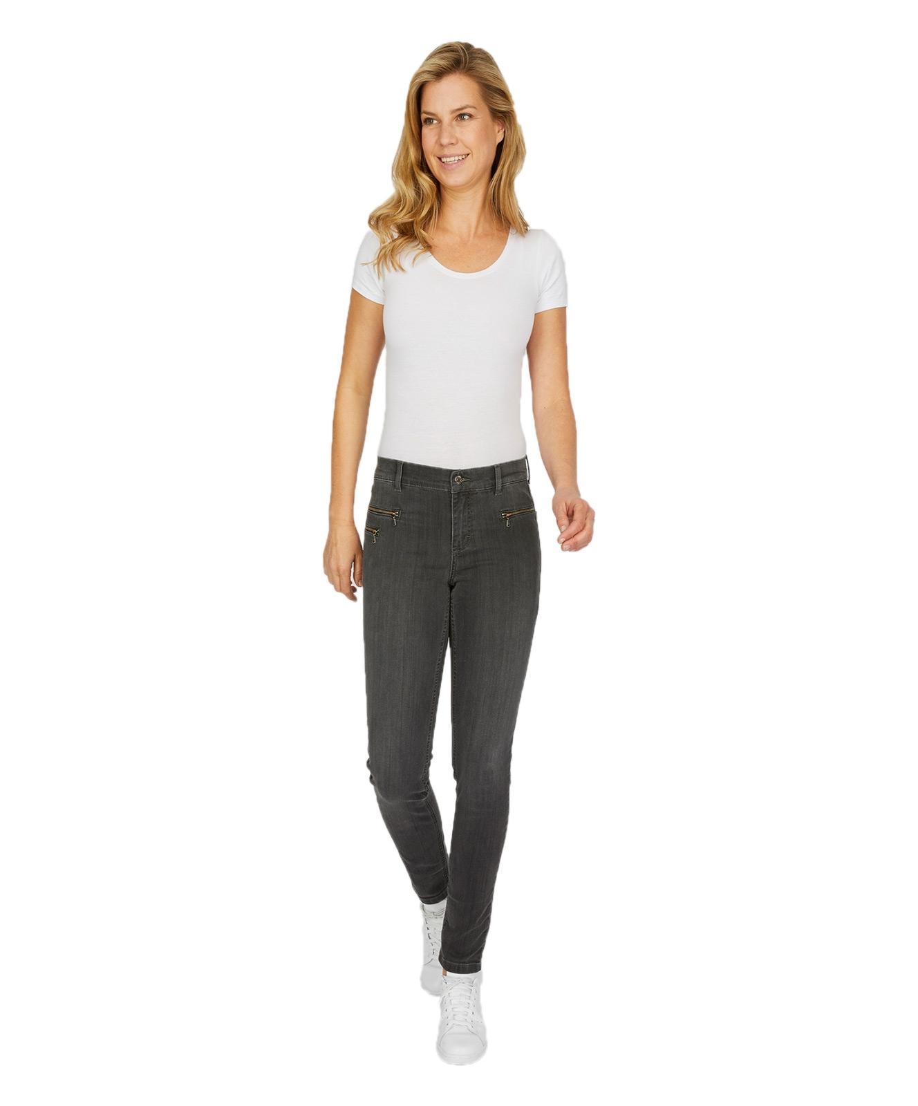 Hosen - Angels Slim Fit Jeans Malu Zip in Grey Used  - Onlineshop Jeans Meile