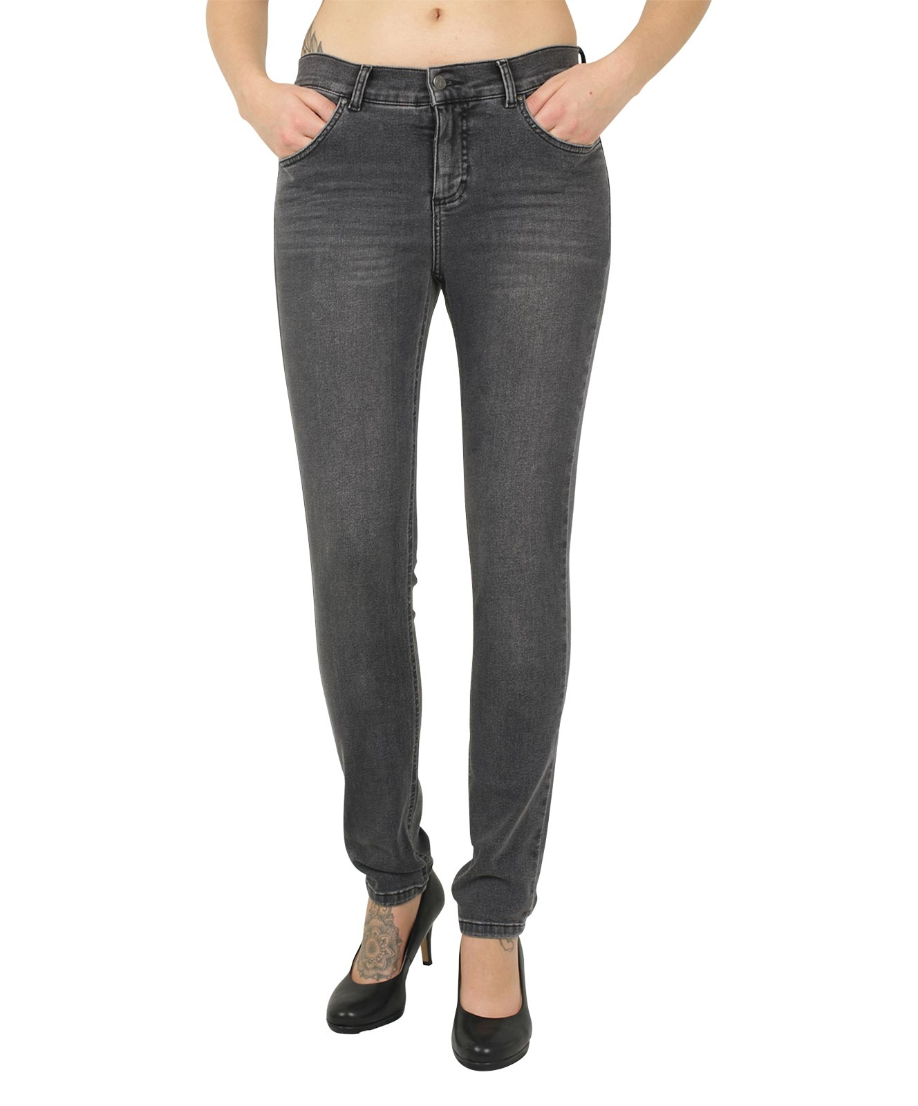 Hosen - Angels Jeans Röhre Skinny in Grey Used  - Onlineshop Jeans Meile