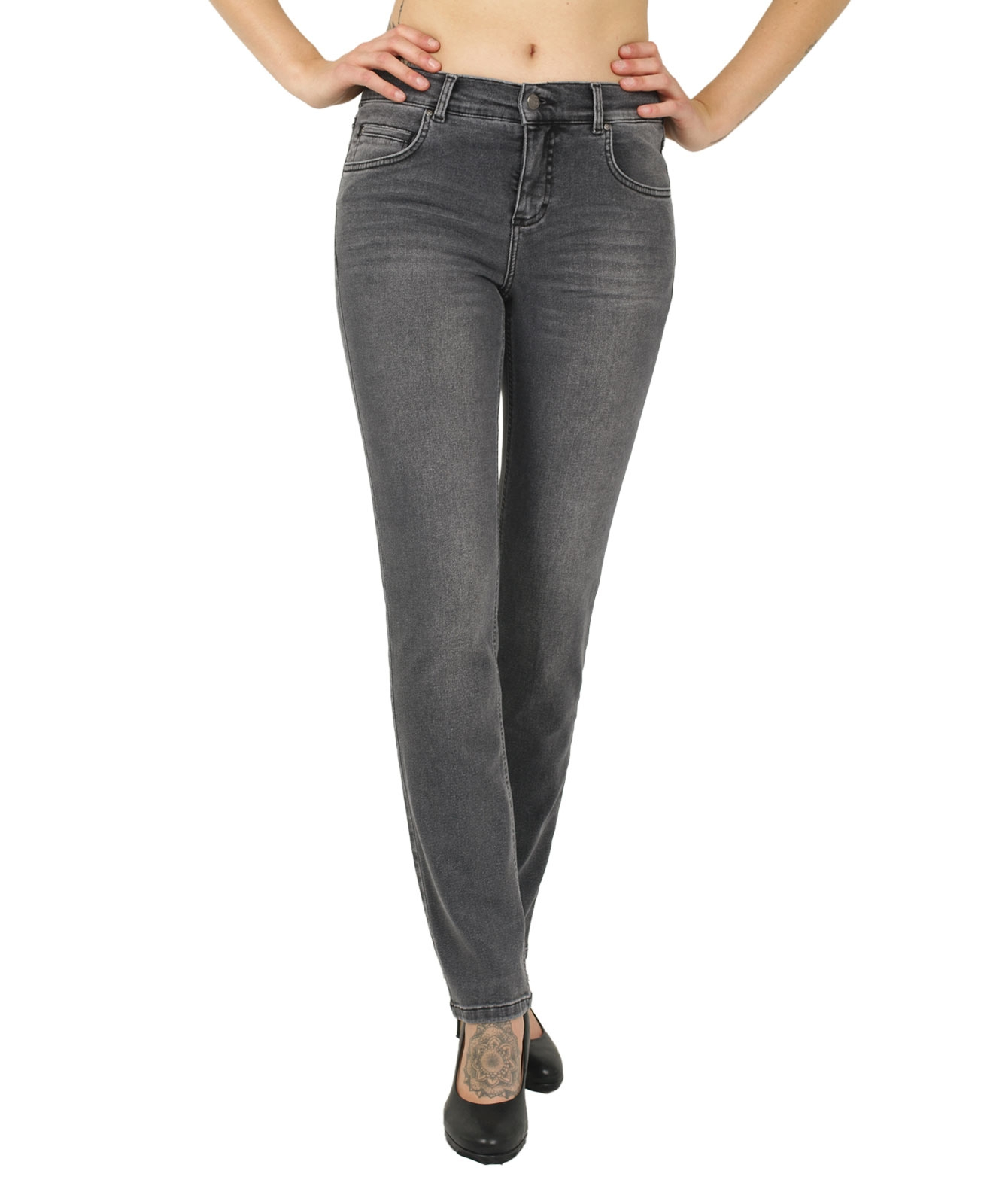 Hosen - Angels Straight Leg Jeans Cici in Grey Used Crinkle  - Onlineshop Jeans Meile