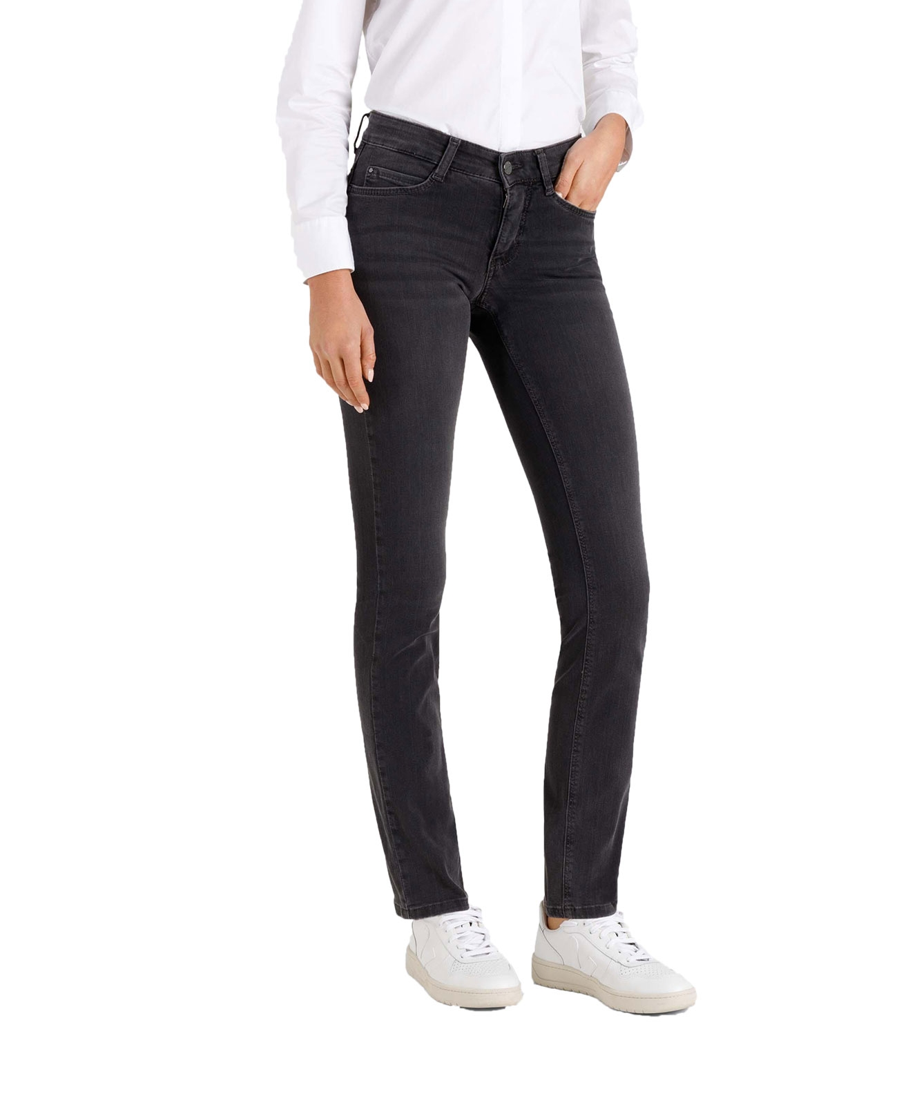 Hosen - MAC Straight Leg Jeans Dream in Dark Grey Used Wash  - Onlineshop Jeans Meile