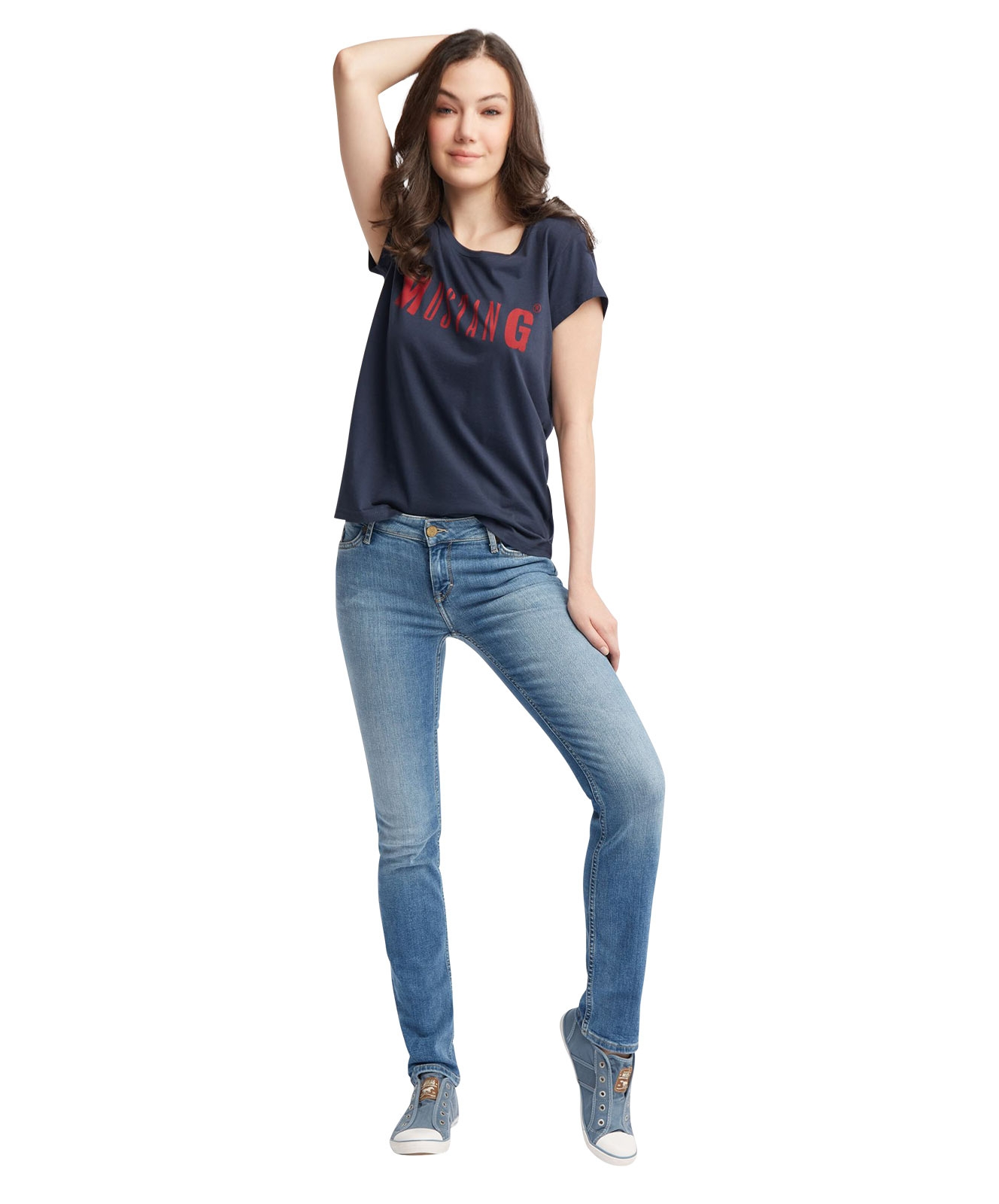 Hosen - Mustang Slim Fit Jeans Jasmin Slim in Light Blue  - Onlineshop Jeans Meile