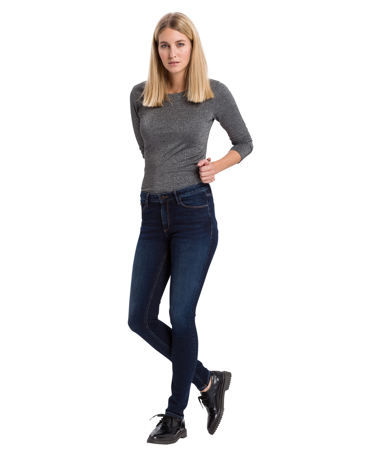 Hosen - Cross High Waisted Jeans Alan in Deep Blue Used  - Onlineshop Jeans Meile