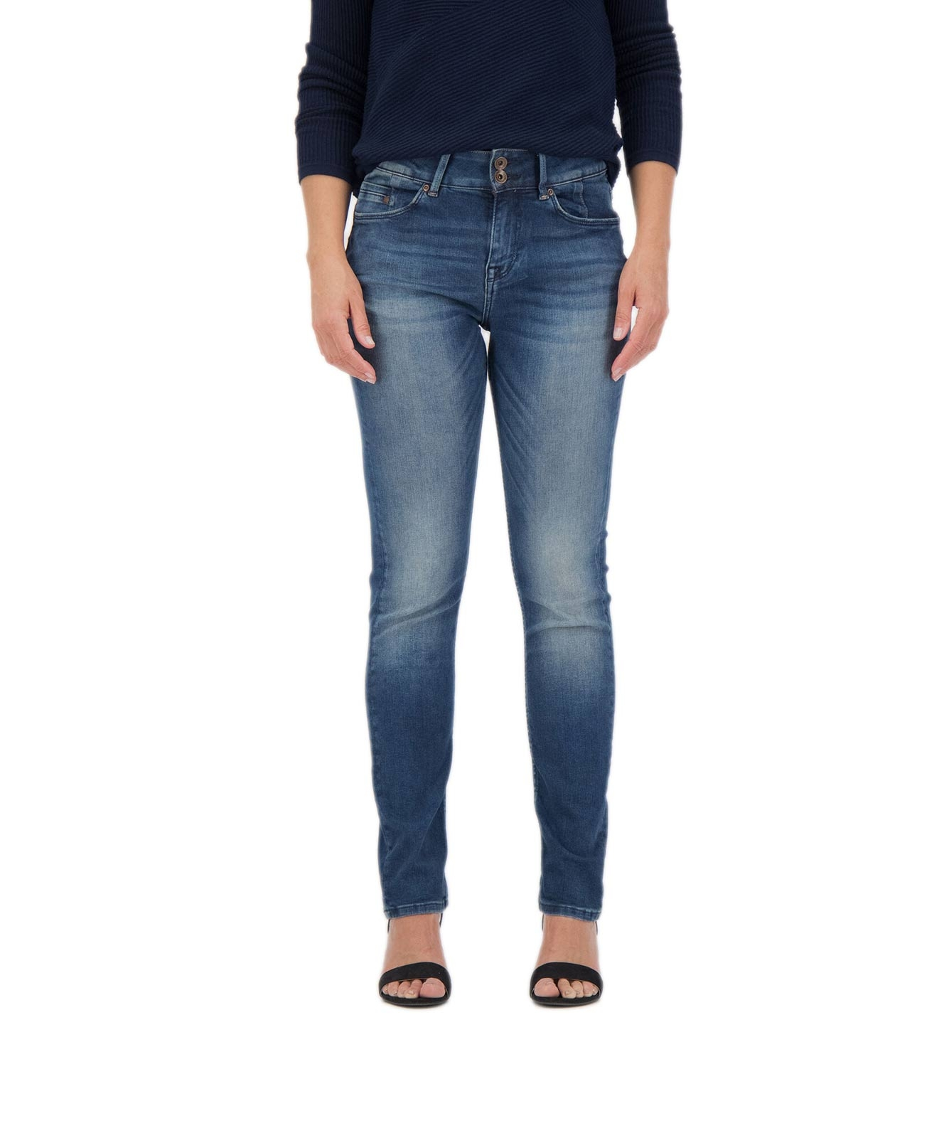 Hosen - Garcia High Waisted Jeans Caro Curved Slim in Vintage Used  - Onlineshop Jeans Meile
