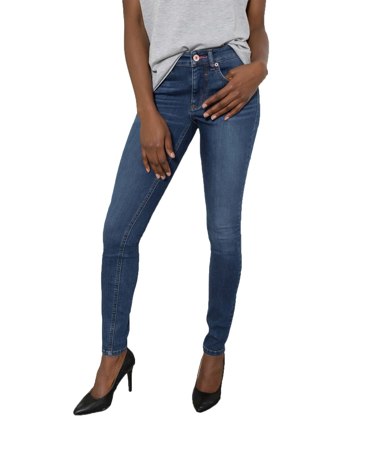 Hosen für Frauen - HIS LORRAINE Super Skinny Jeans Medium Blue Wash  - Onlineshop Jeans Meile