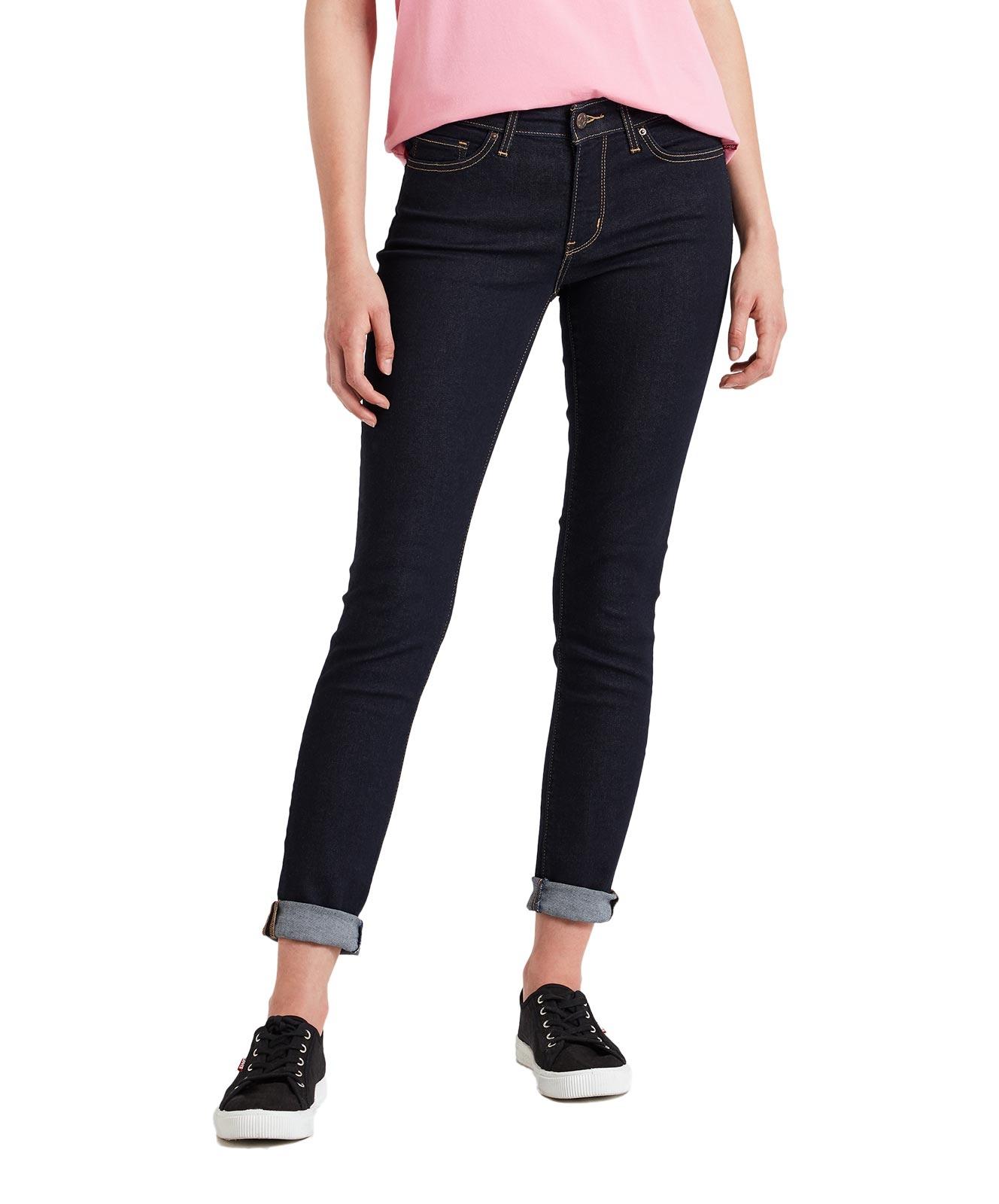 Hosen für Frauen - Levi's 711 Enge Jeans mit mittelhohem Bund in Rinsewash  - Onlineshop Jeans Meile