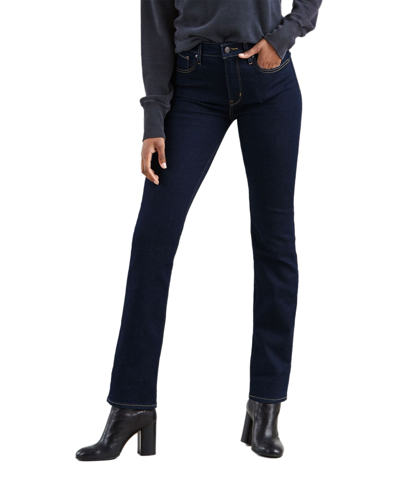 Hosen für Frauen - Levi's 724 Gerade dunkelblaue Jeans mit hohem Bund  - Onlineshop Jeans Meile