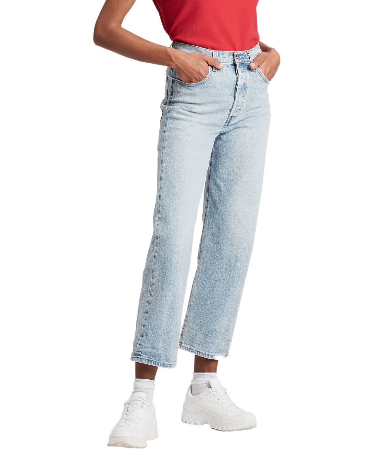 Hosen für Frauen - Levi's Ribcage gerade Ankle Jeans in Tango Waschung  - Onlineshop Jeans Meile