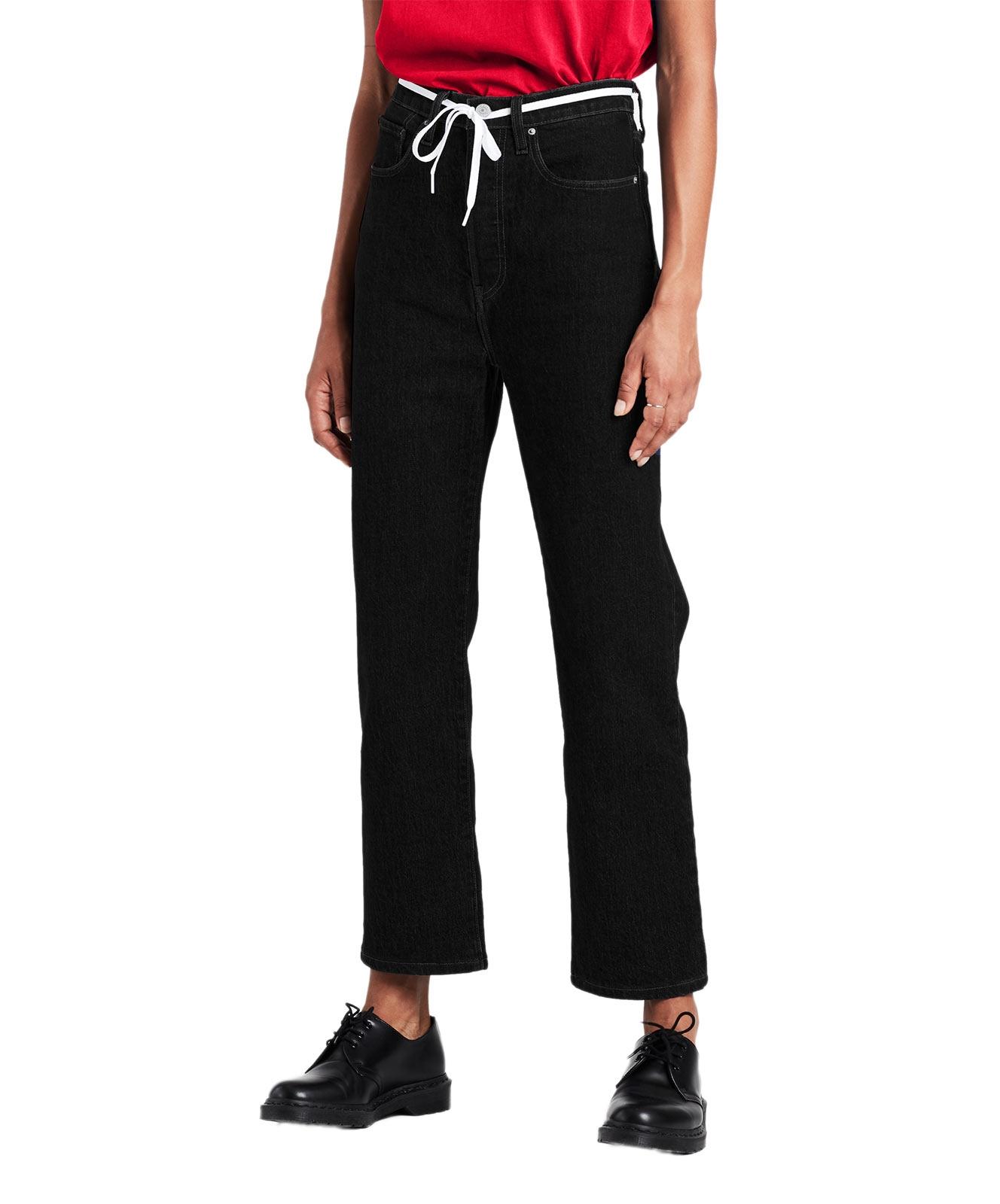 Hosen für Frauen - Levi's Ribcage Schwarze Ankle Jeans mit geradem Bein  - Onlineshop Jeans Meile