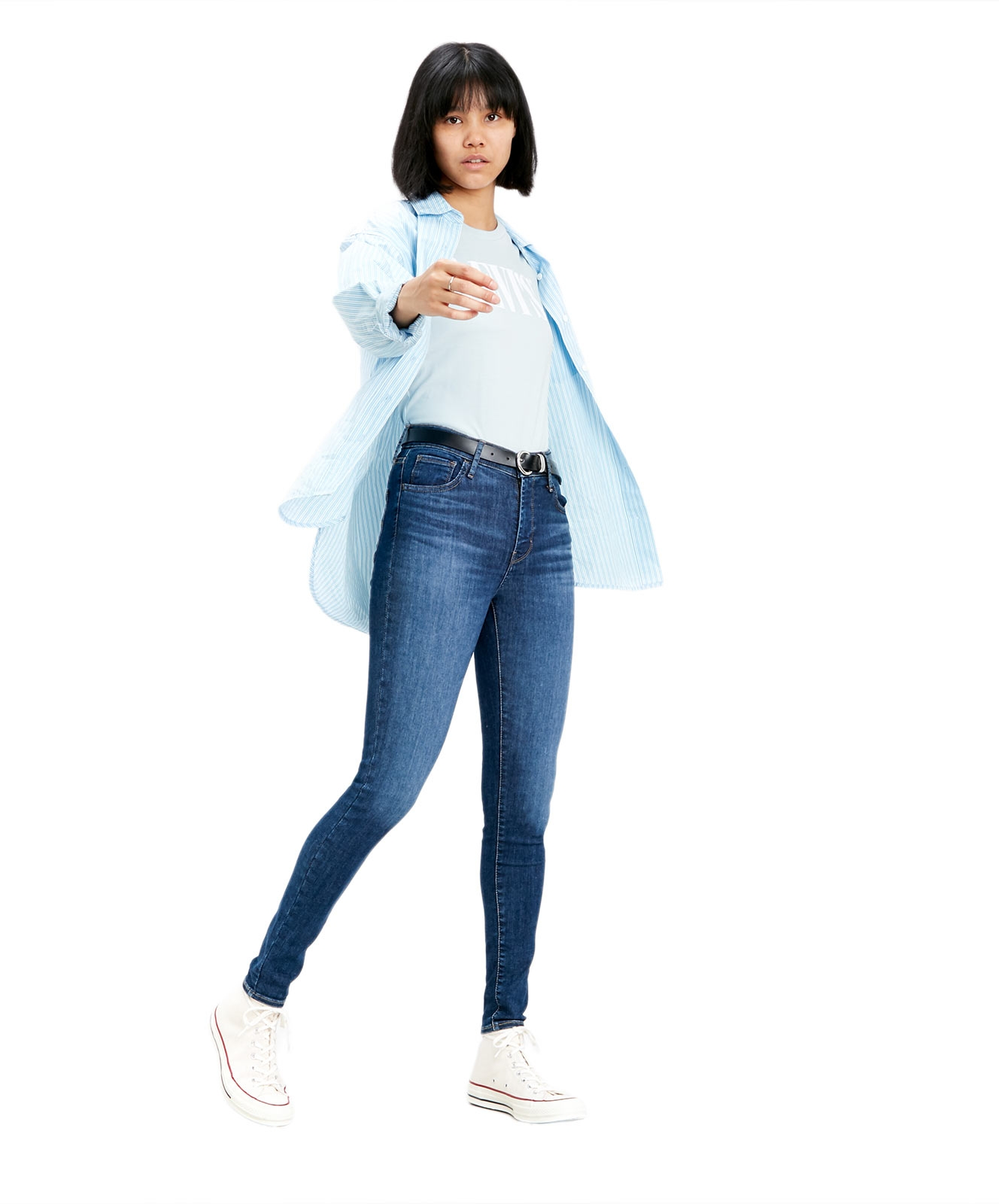 Hosen - Levis High Rise Super Skinny Jeans 720 in Mittelblau  - Onlineshop Jeans Meile