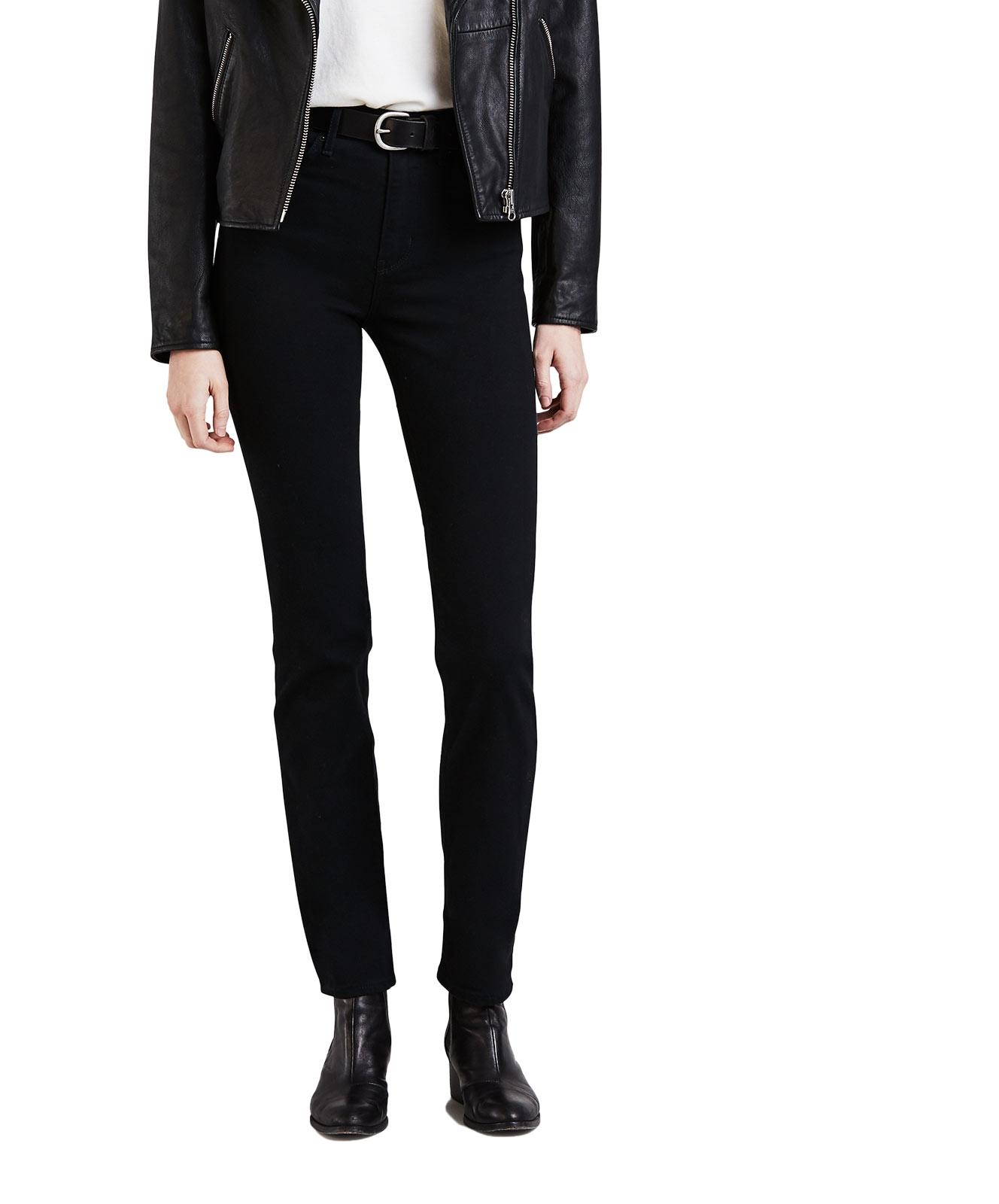 Hosen für Frauen - Levi's 724 Gerade Schwarze Jeans mit hohem Bund  - Onlineshop Jeans Meile