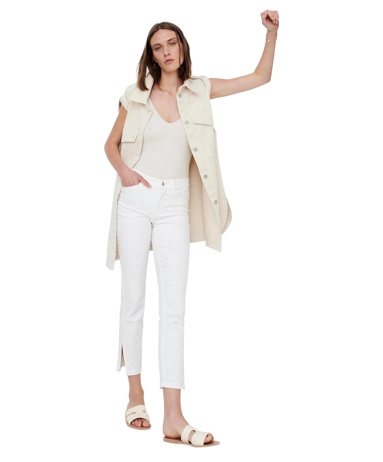 Hosen - MAC Ankle Jeans Dream Chic in White Denim  - Onlineshop Jeans Meile