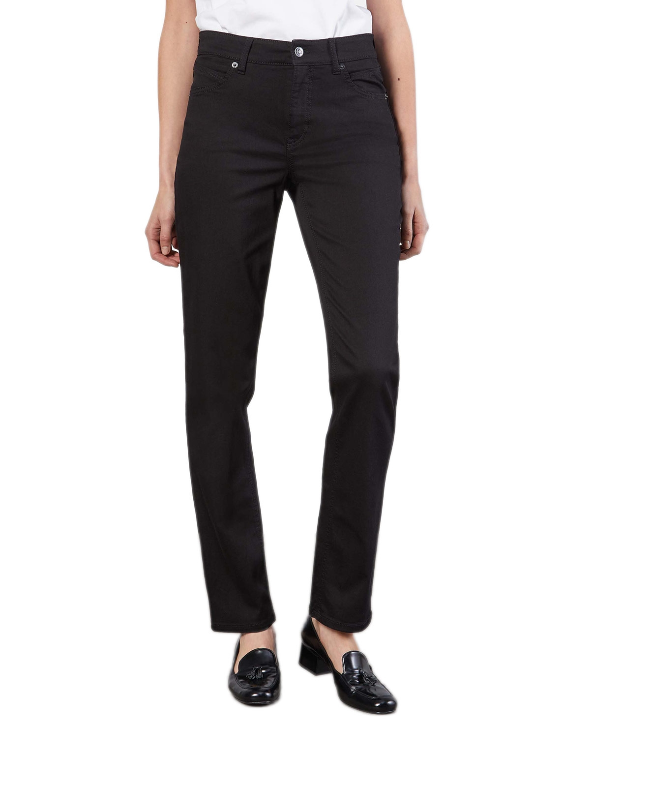 Hosen - MAC Straight Leg Jeans Melanie in Black Black  - Onlineshop Jeans Meile