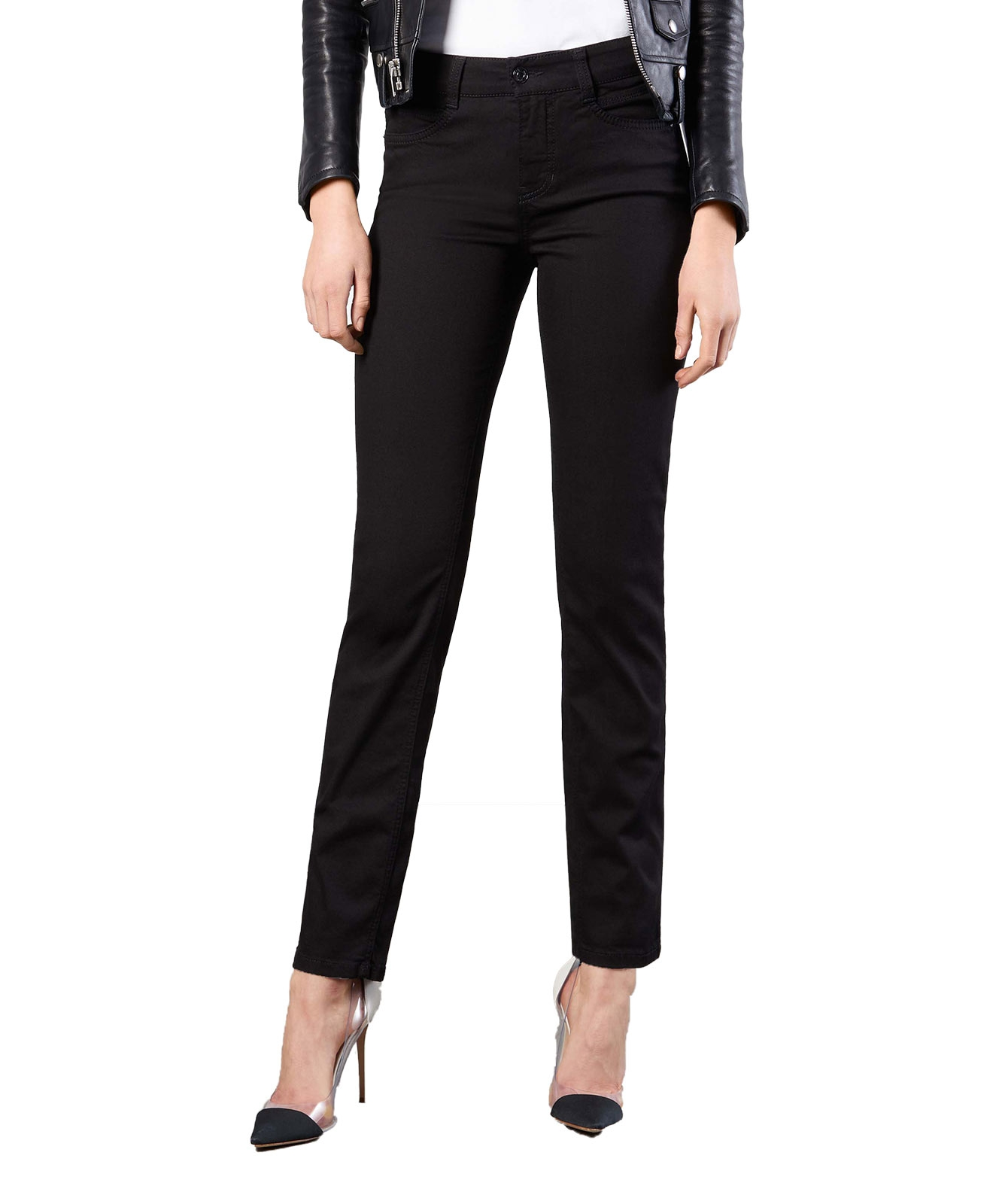Hosen - MAC Slim Fit Jeans Angela in Black Black  - Onlineshop Jeans Meile