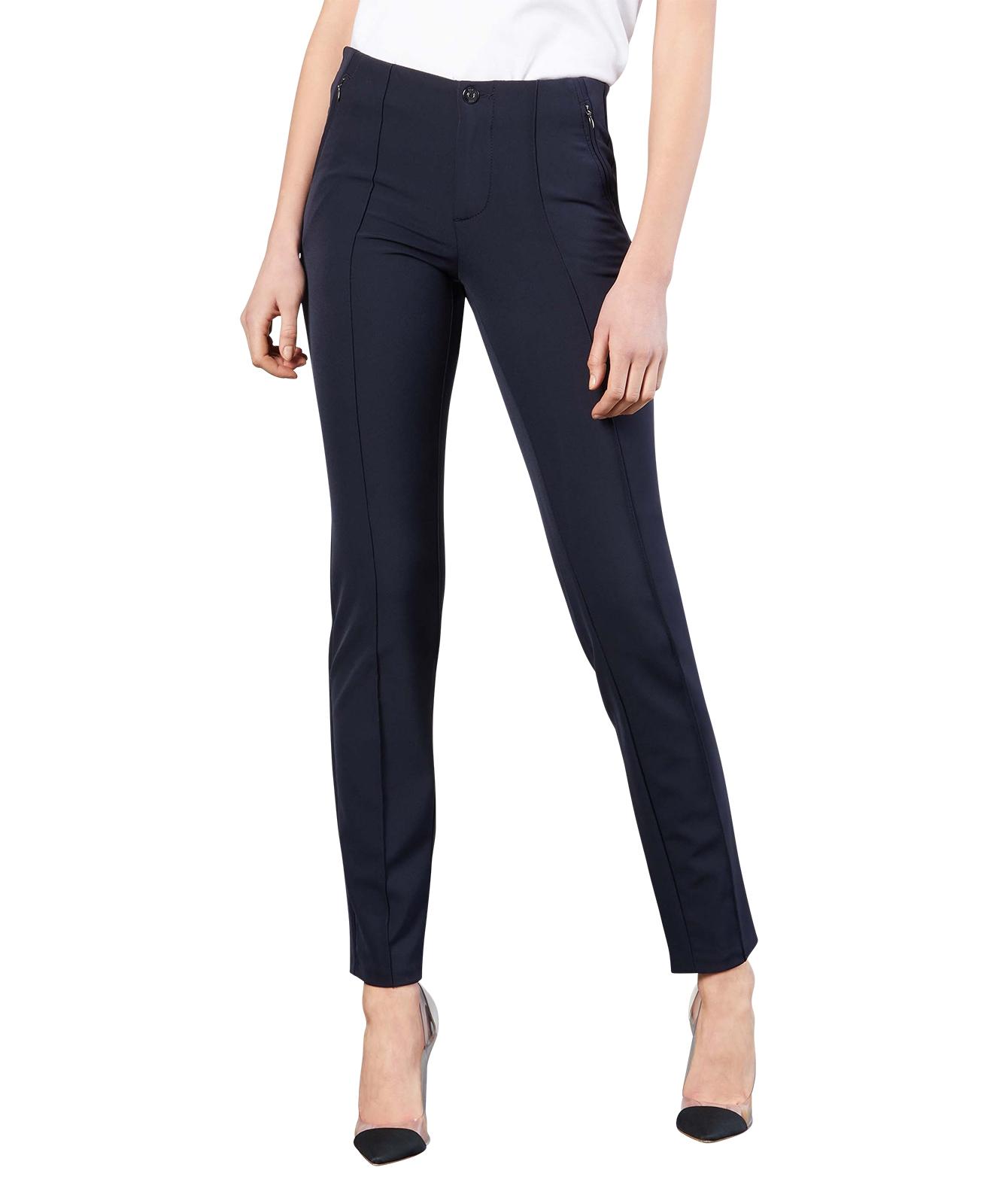 Hosen - MAC Stoffhose Anna Zip New in Dark Blue  - Onlineshop Jeans Meile