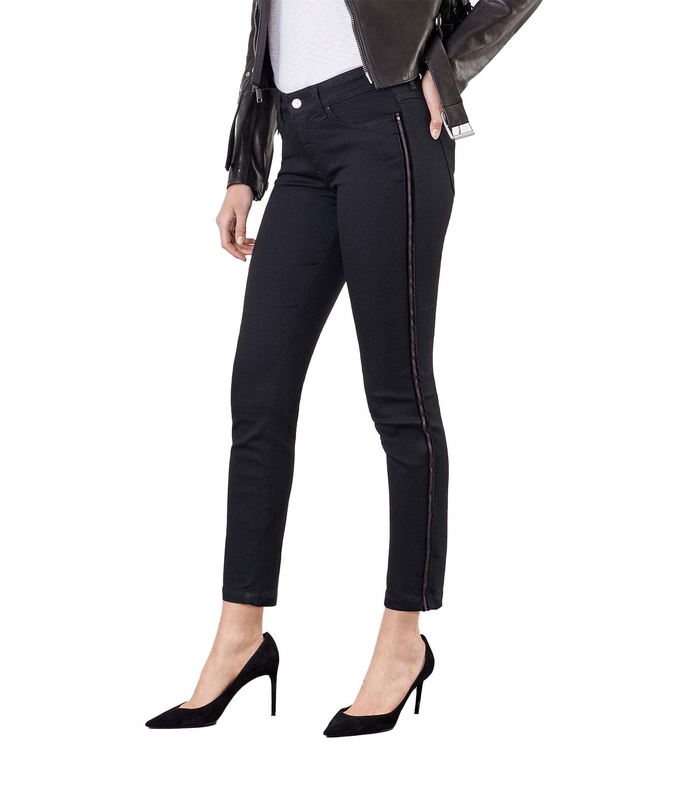 Hosen - MAC Ankle Jeans Dream Slim Velevet Galloon in Black Black  - Onlineshop Jeans Meile
