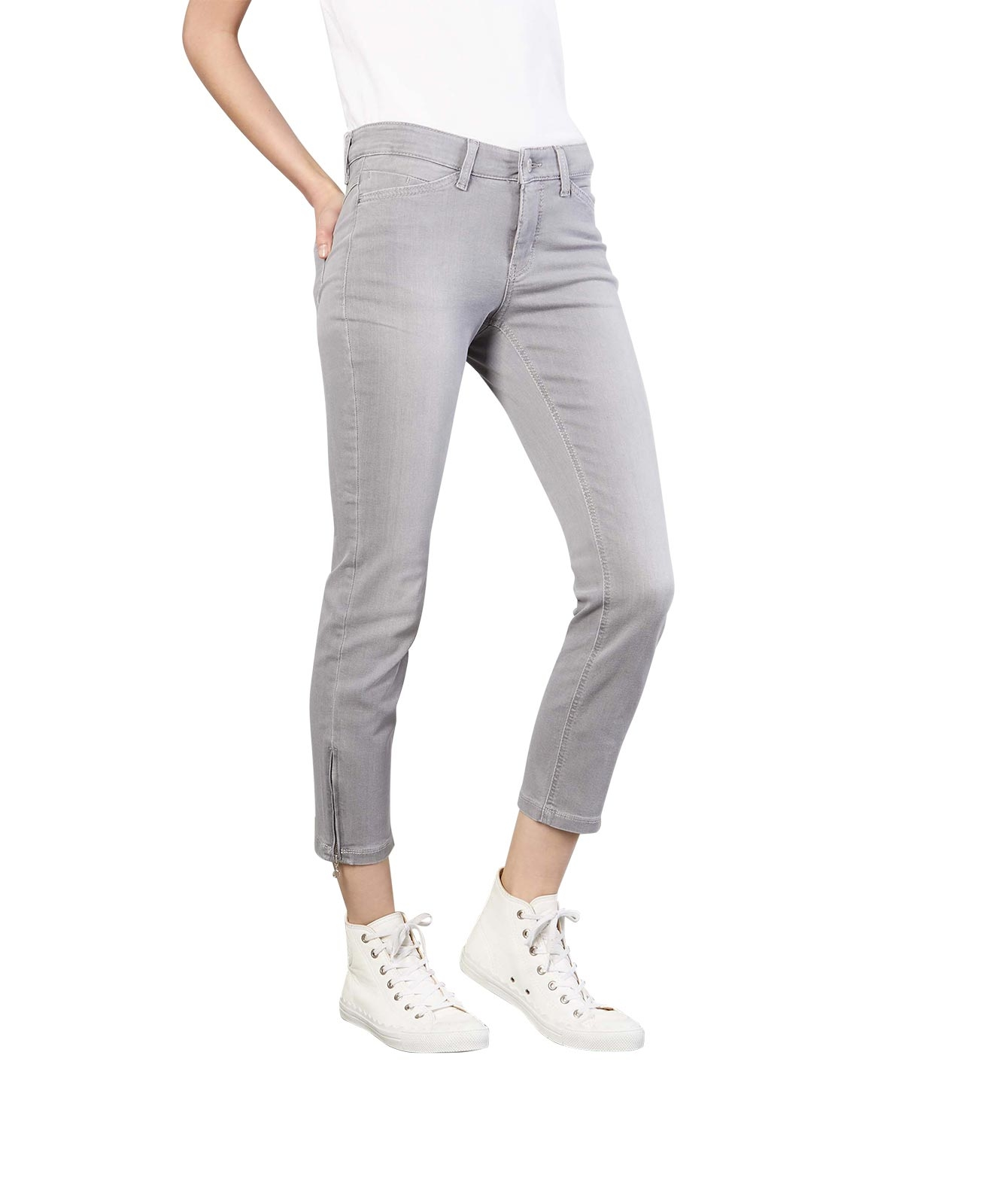 Hosen - MAC Ankle Jeans Dream Chic in Silver Grey Used  - Onlineshop Jeans Meile