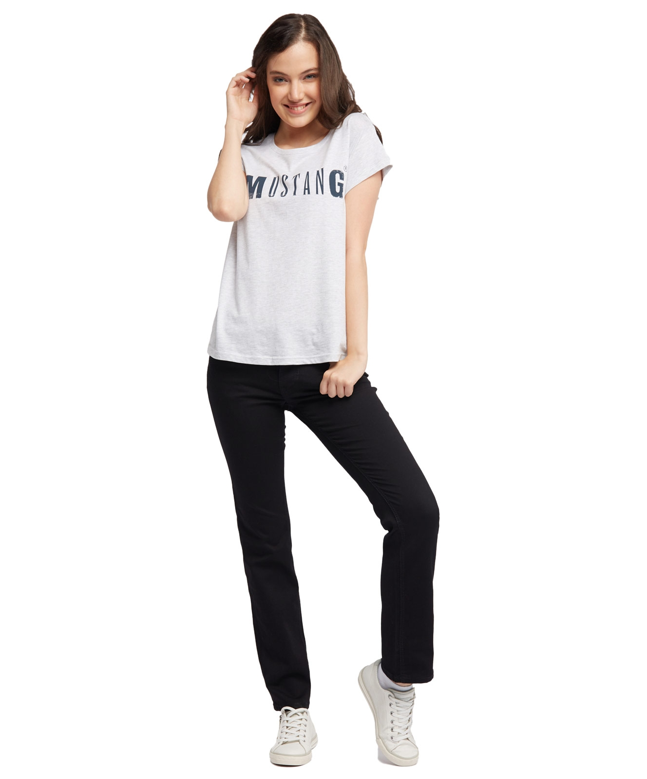 Hosen - Mustang Stretch Jeans Comfort Fit die weitere Form Julia Straight in Black  - Onlineshop Jeans Meile