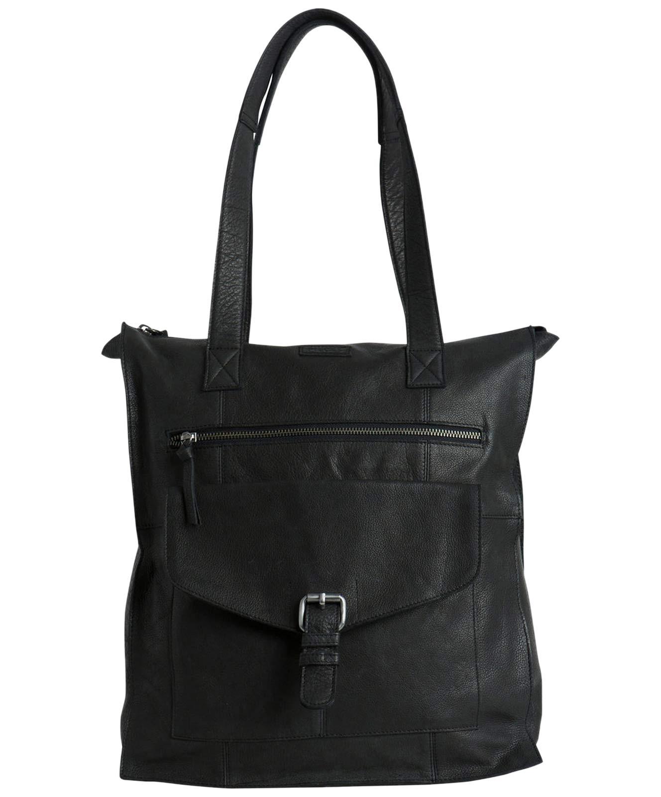 Cabby - Schwarze Shopper Tasche aus Leder