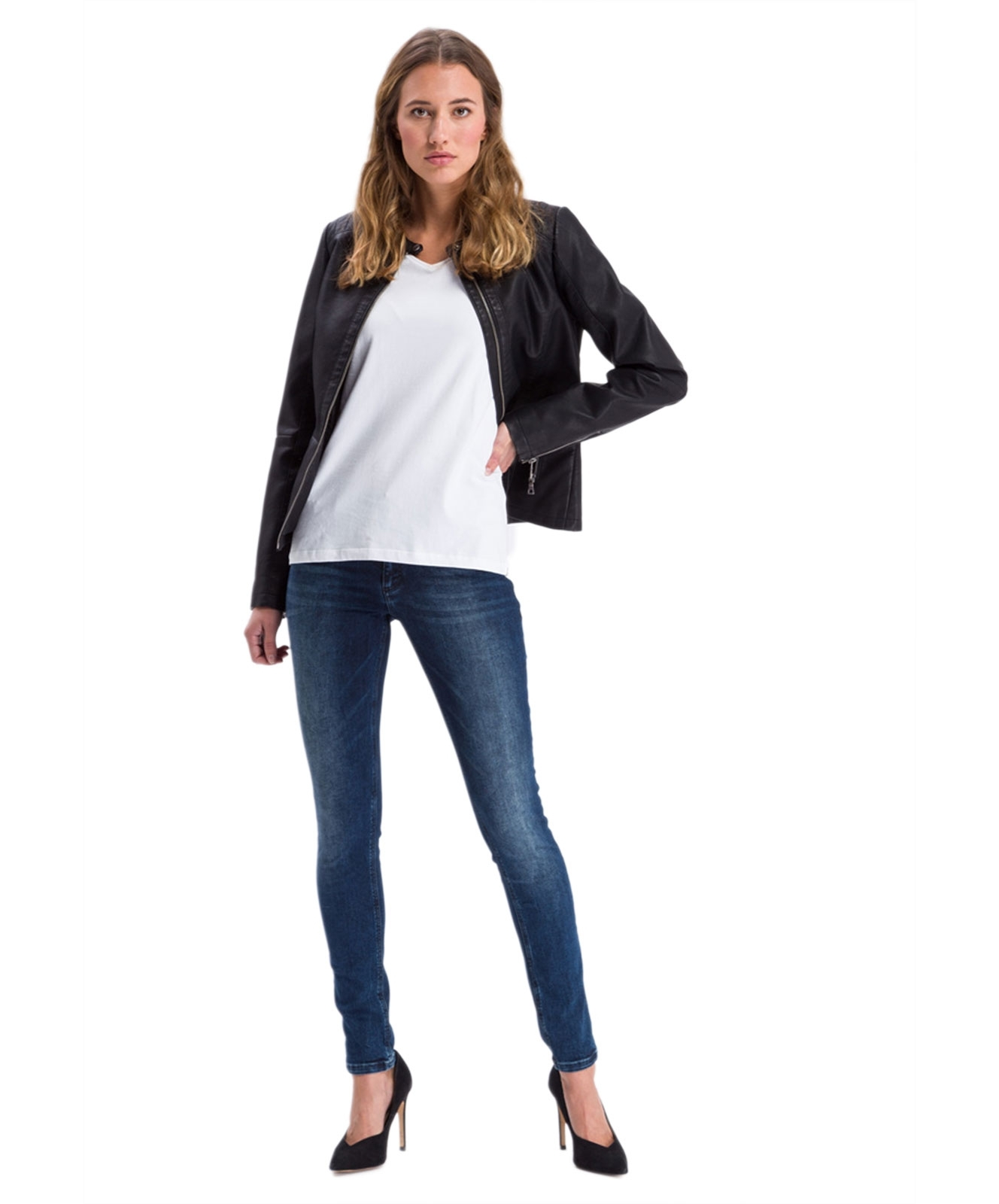 Hosen - Cross High Waisted Jeans Alan in Dark Blue Used  - Onlineshop Jeans Meile
