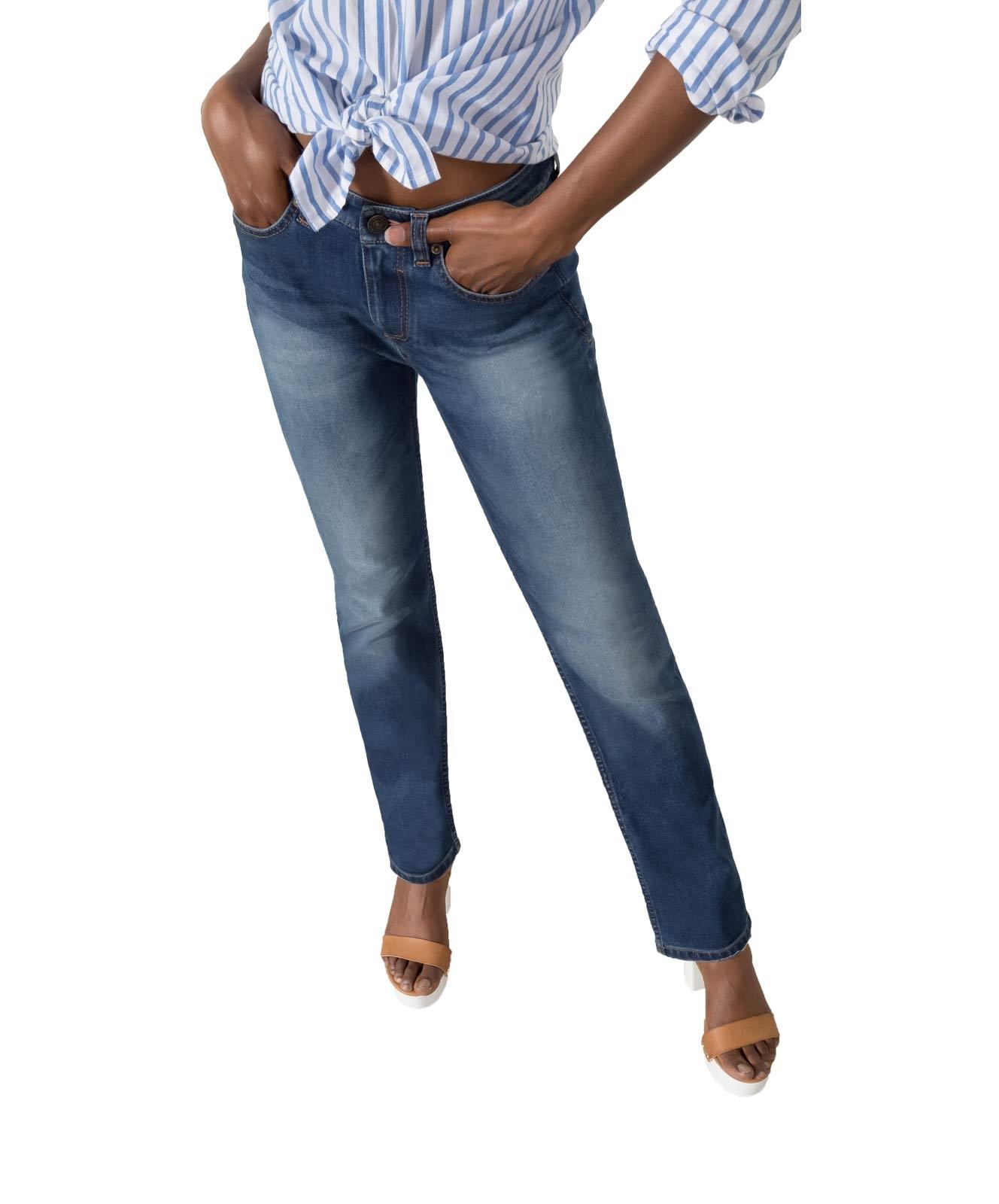 Hosen für Frauen - HIS COLETTA Jeans Straight Fit Medium Blue  - Onlineshop Jeans Meile