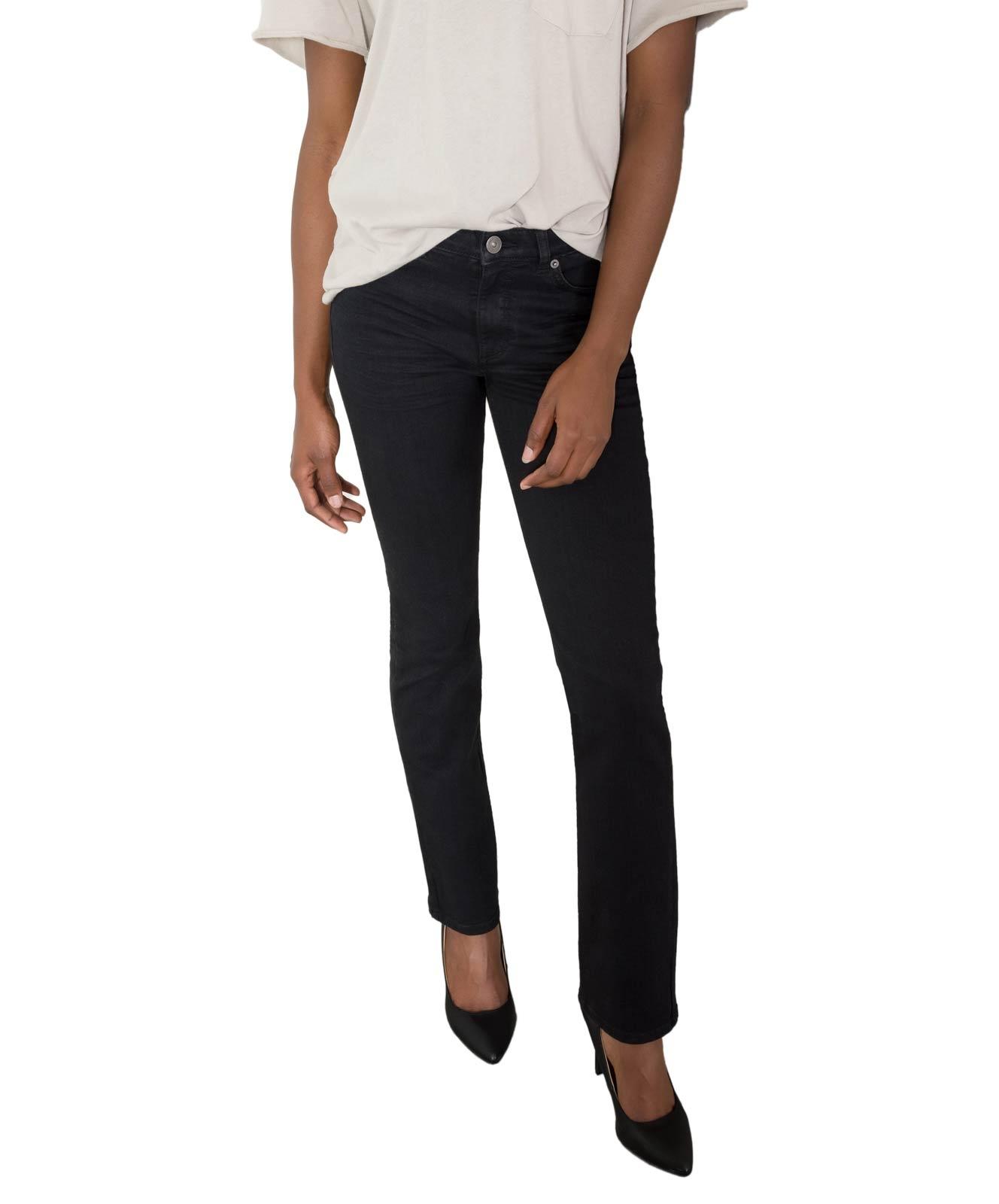 Hosen für Frauen - HIS COLETTA Jeans Straight Fit Pure Black Wash  - Onlineshop Jeans Meile