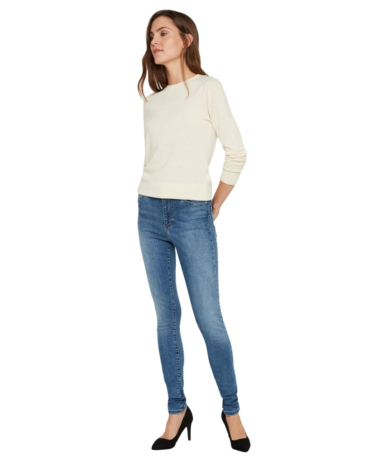 Hosen - Vero Moda High Waisted Jeans Sophia in Light Blue  - Onlineshop Jeans Meile