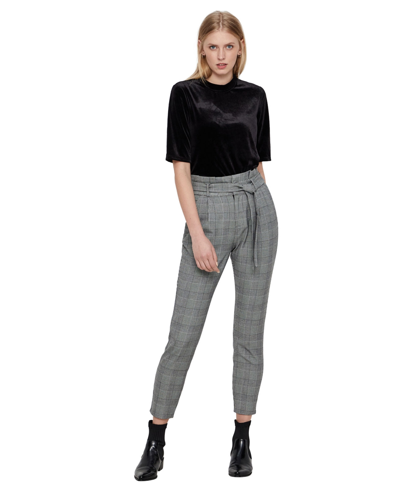 Hosen - Vero Moda High Waist Paperback Hose EVA im Karo Look  - Onlineshop Jeans Meile