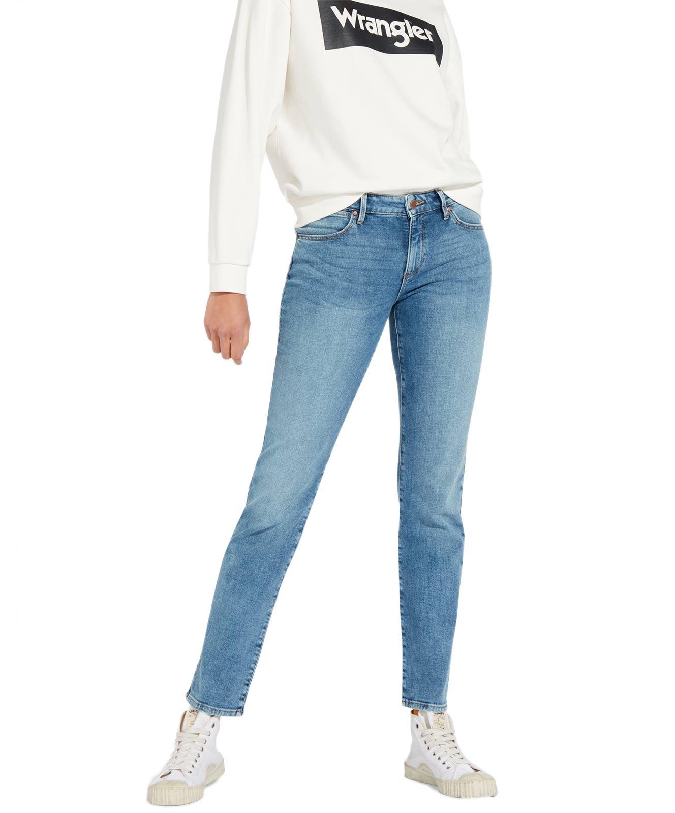 Hosen für Frauen - Wrangler Damen Jeans Straight in Wasserblau  - Onlineshop Jeans Meile