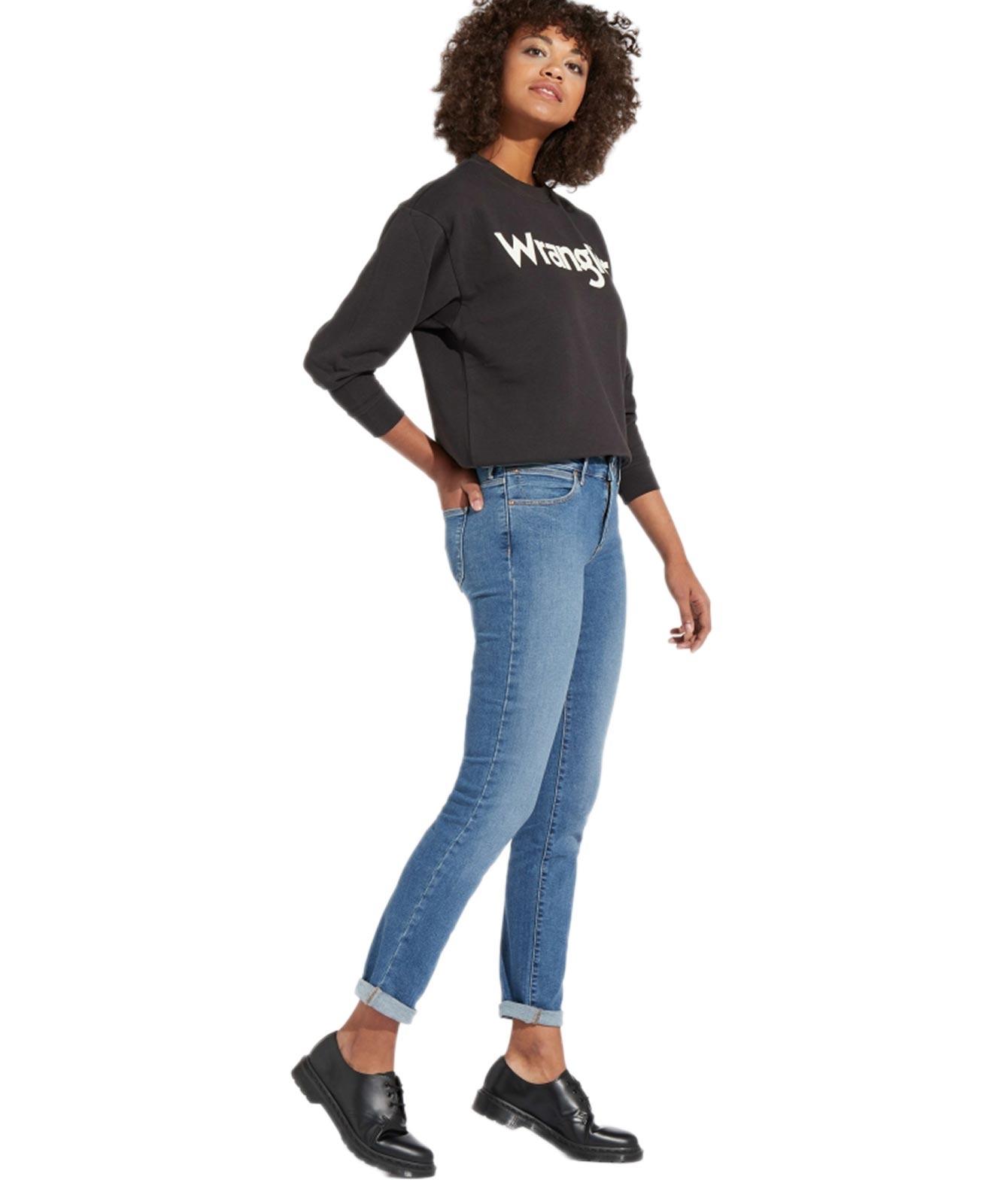 Hosen für Frauen - Wrangler Slim Jeans mit Body Bespoke in hellblau  - Onlineshop Jeans Meile