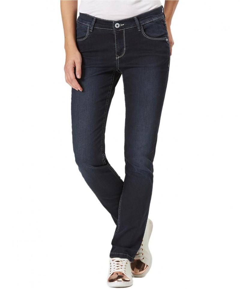 Pioneer Sally Dunkelblaue Jeans mit Verwaschungen