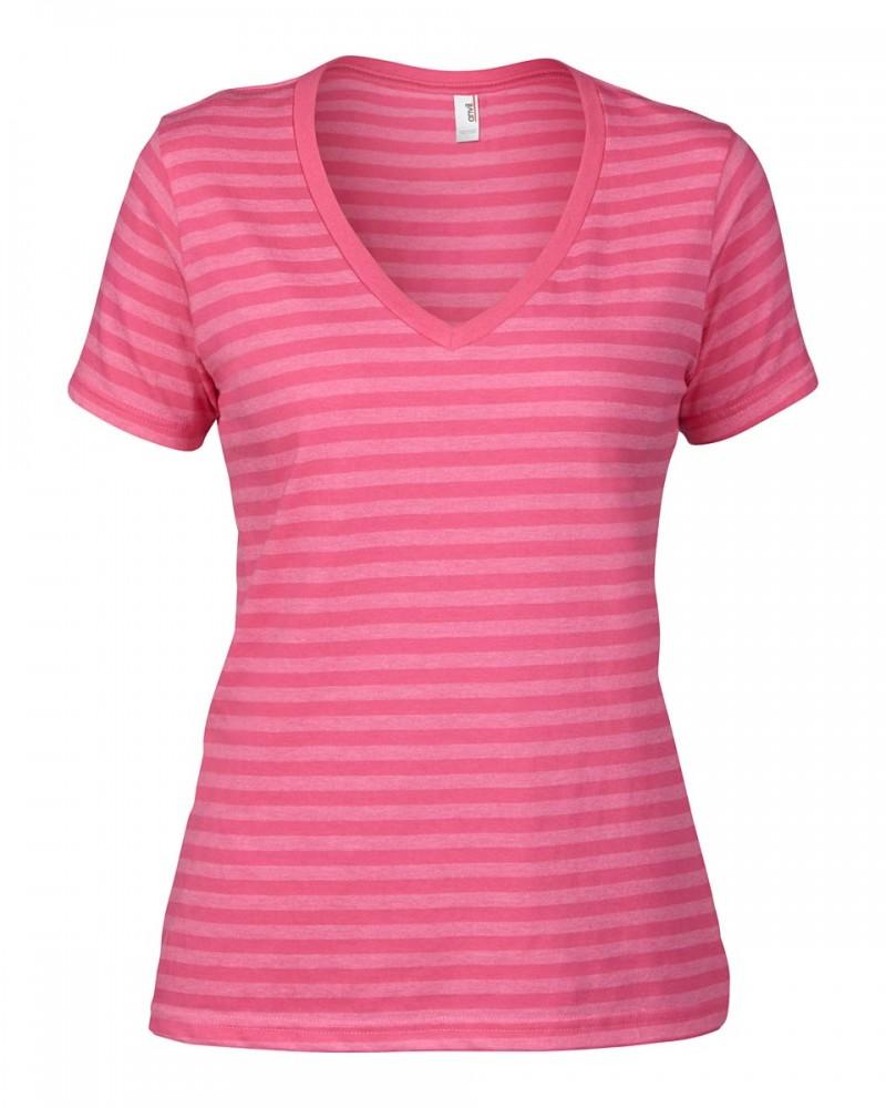 Anvil T-Shirt - V-Neck gesteift - Pink / Pink