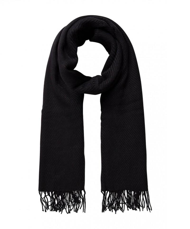 PIECES Kial - Lang Schal mit Fransen - Schwarz