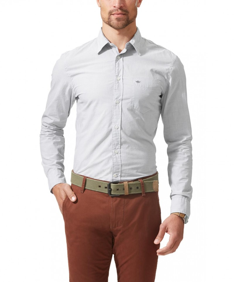 DOCKERS HEMD - Laundered Polin - Paper Weiss