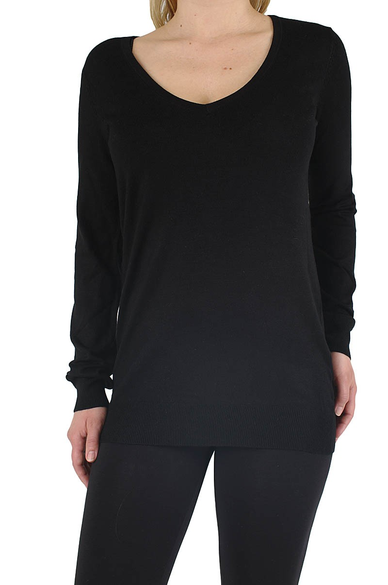 Vero Moda Glory long v-neck Pullover black