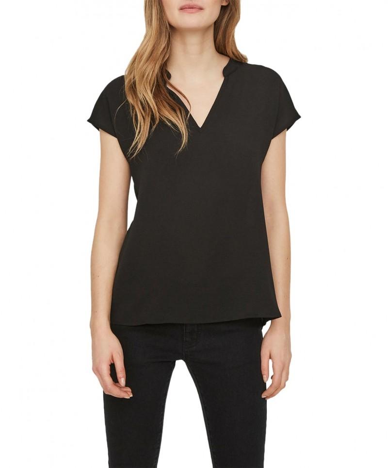 Vero Moda Asha - T-Shirt mit V-Ausschnitt in Schwarz