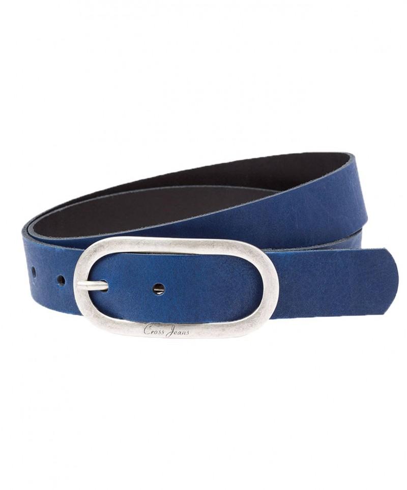 Cross Jeans Gürtel - Rindsleder - Blau