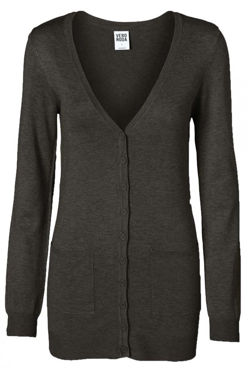 Vero Moda Glory New - Strickjacke Long - Dark Grey Melange v